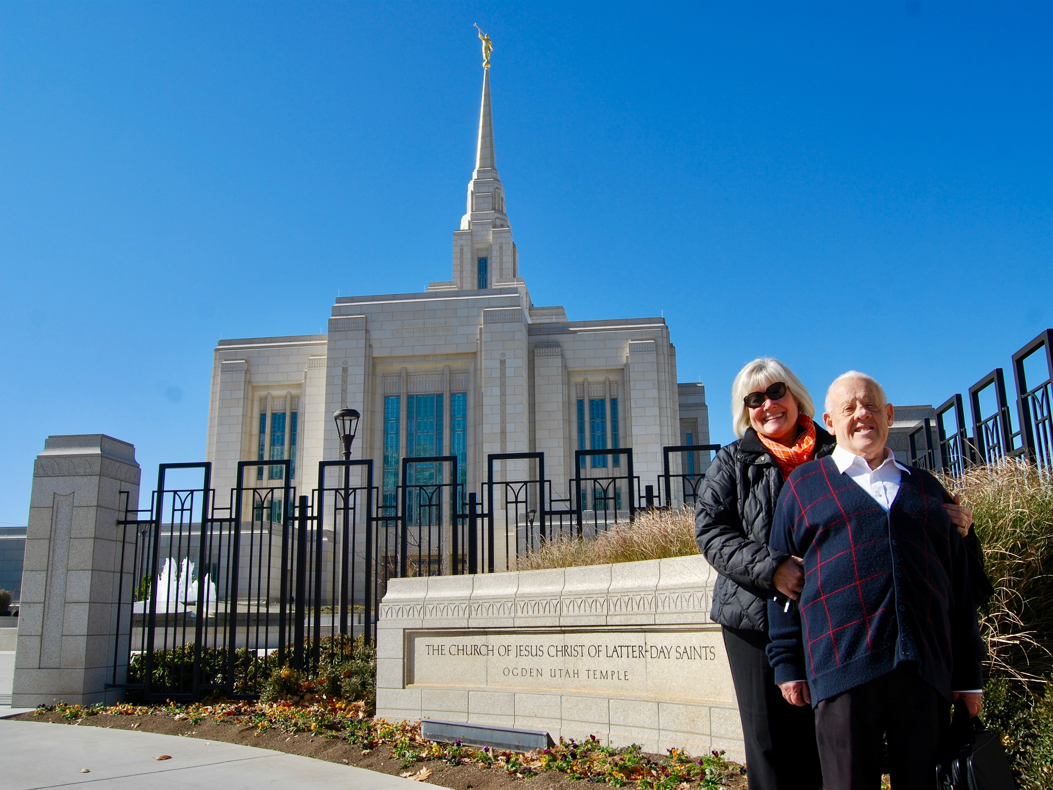 Dennis Preece and his sister Karen Miner stand together outside the Ogden Utah Temple after attending his daily two endowment sessions on Wednesday, Oct. 30, 2019.