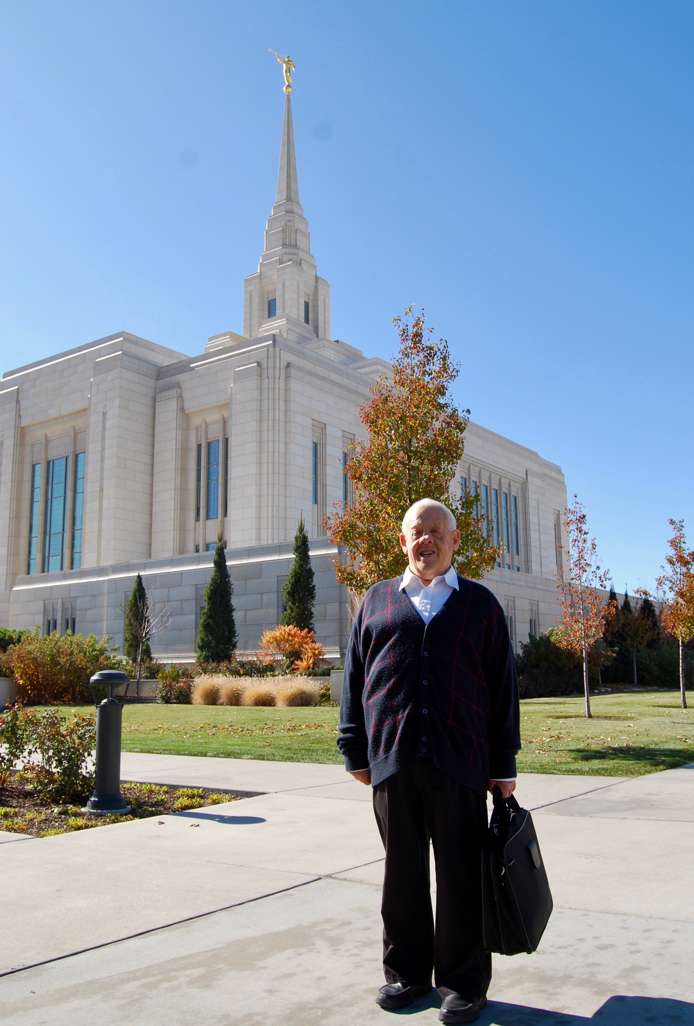 Dennis Preece stands outside the Ogden Utah Temple after attending his daily endowment sessions on Wednesday, Oct. 30, 2019.