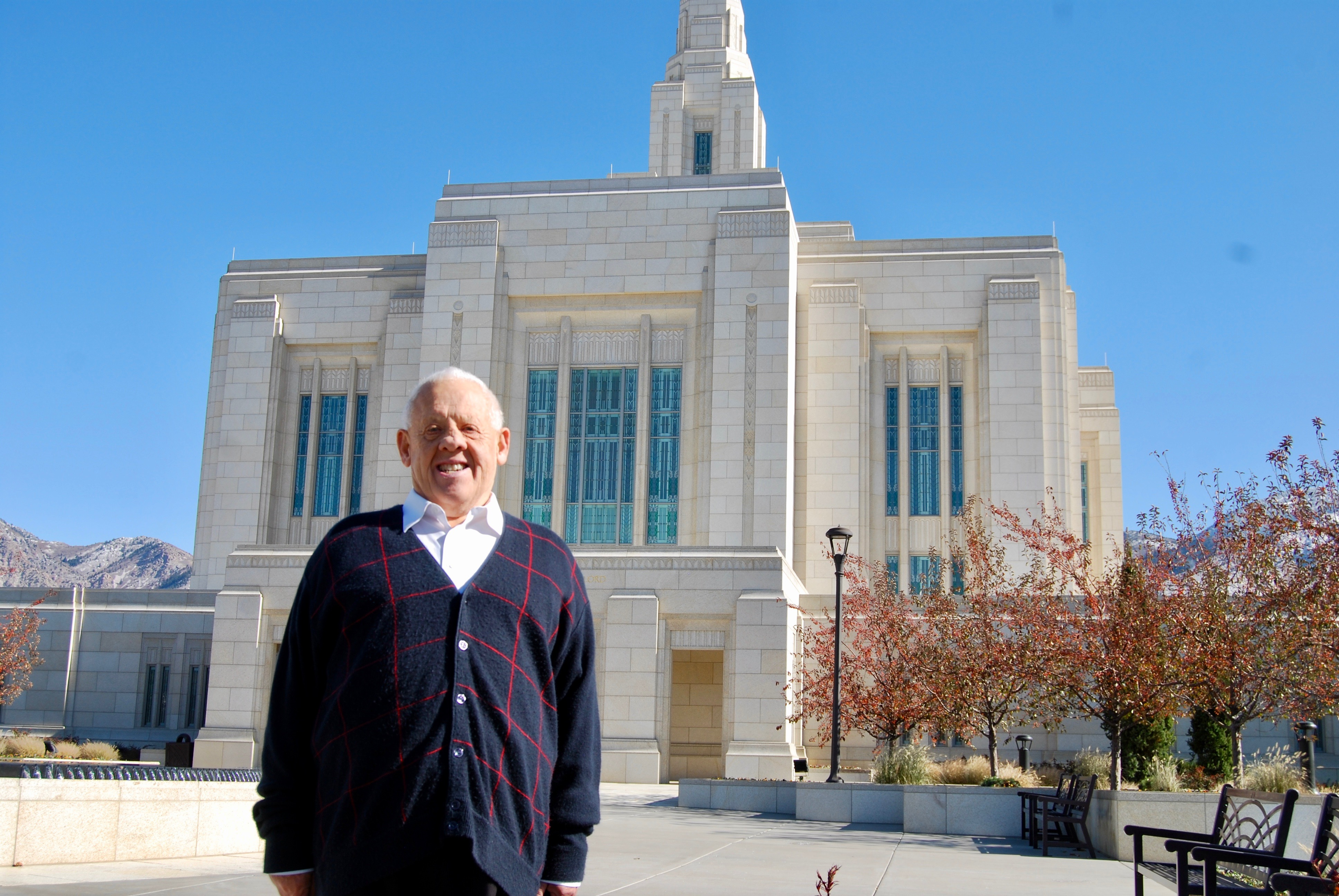 Dennis Preece stands outside the Ogden Utah Temple after attending his daily two endowment sessions on Wednesday, Oct. 30, 2019.