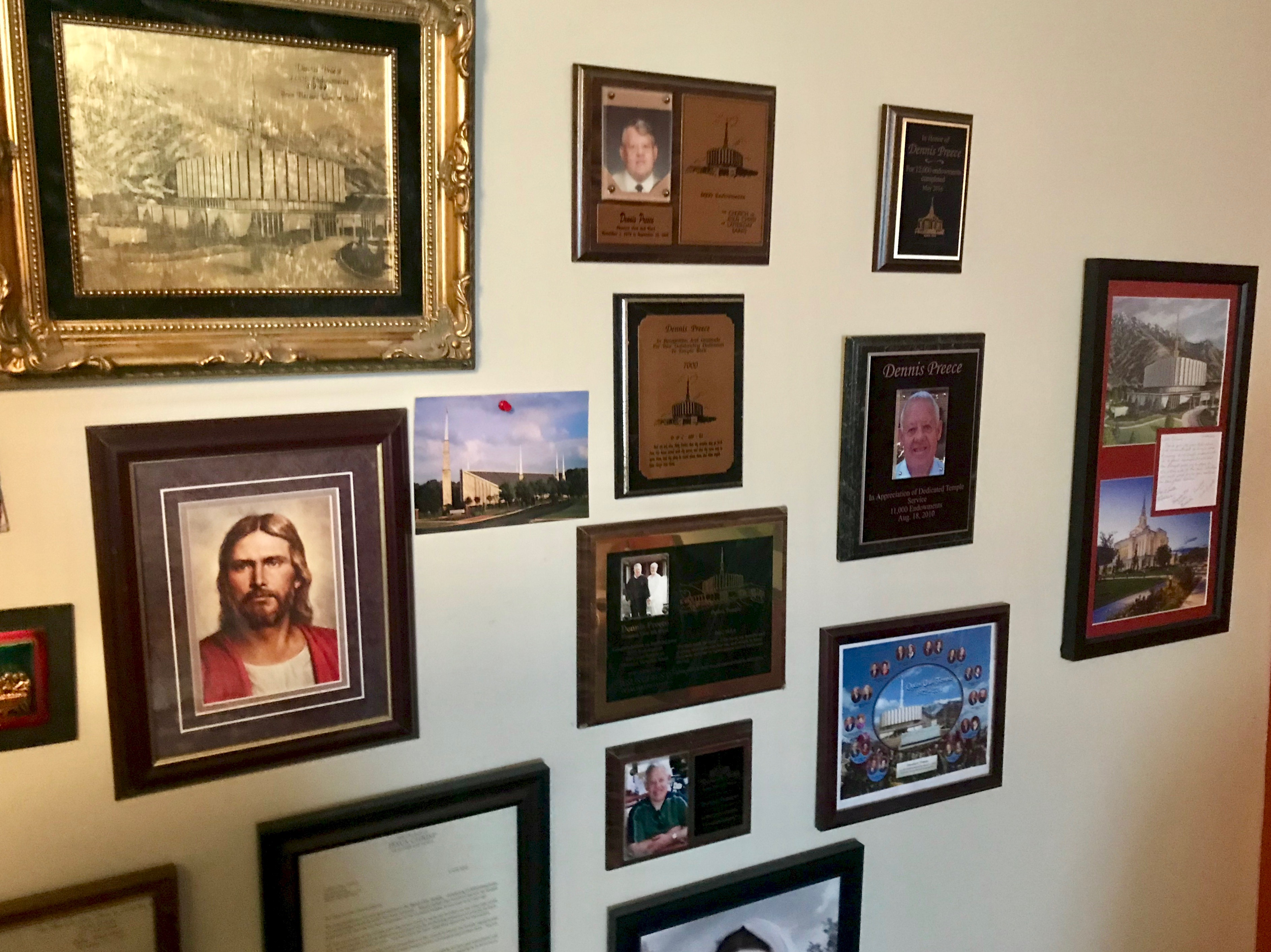 Dennis Preece's bedroom wall is a tribute to his temple service.