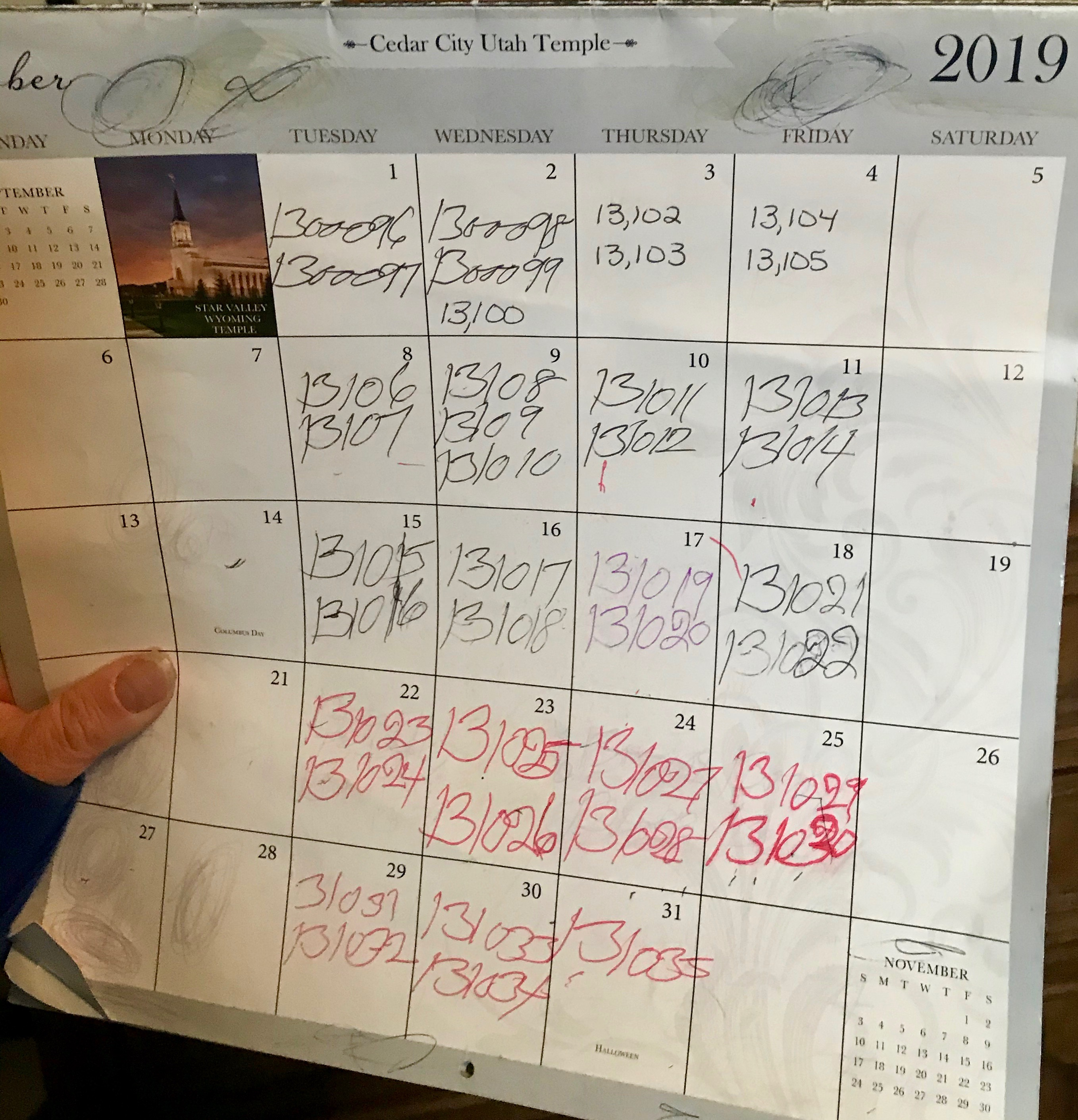 Dennis Preece tracks the number of temple endowment sessions he does on a calendar.