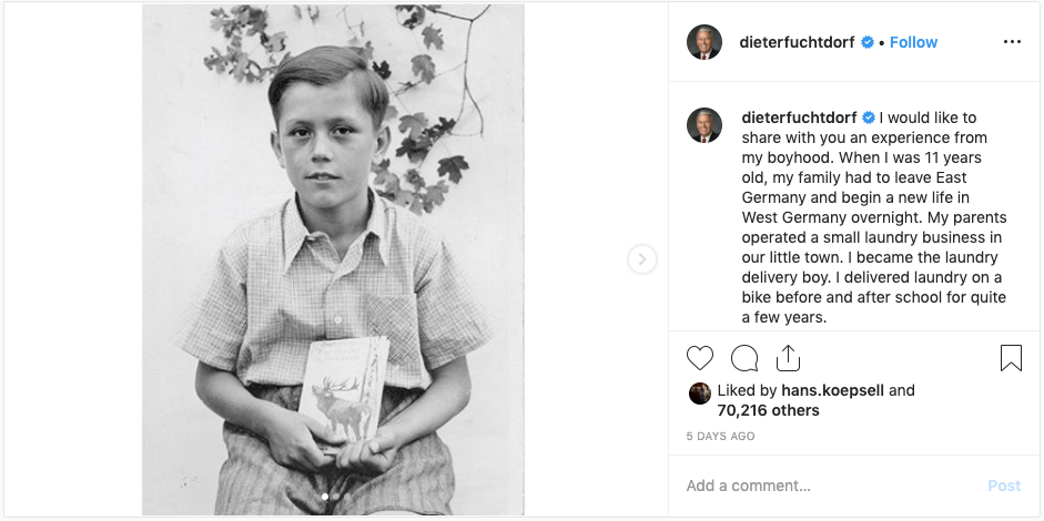 Elder Dieter F. Uchtdorf shared a story from his childhood in an Oct. 27, 2019, Instagram post.