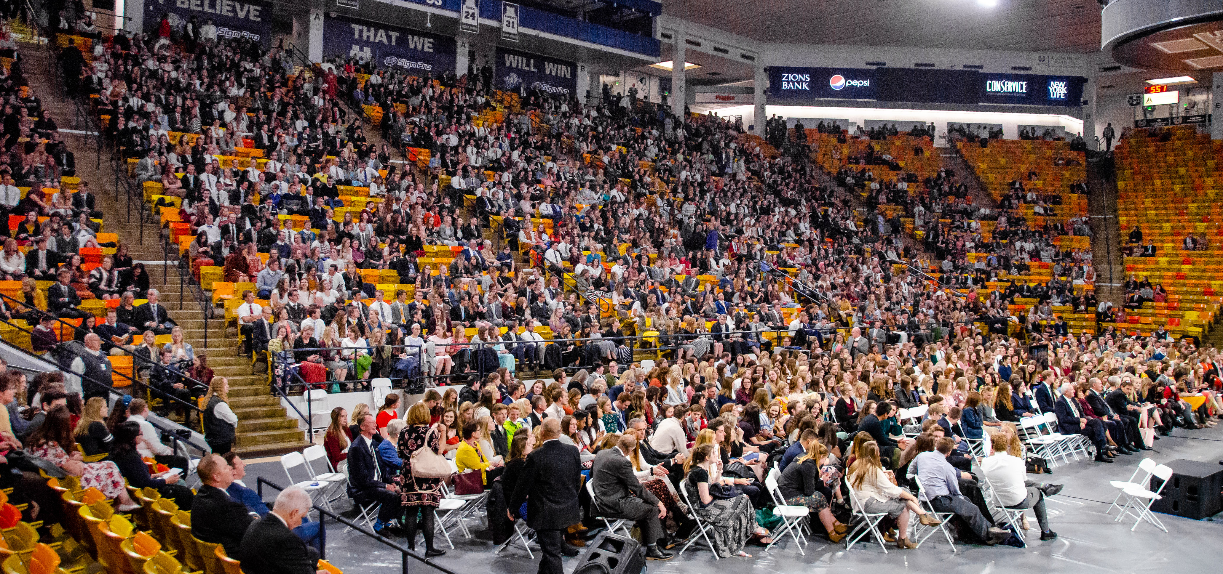 Attendees at the Dee Glen Smith Spectrum at Utah State University in Logan, Utah, take their seats prior to a devotional with Sister Sharon Eubank on Sunday, Nov. 3, 2019.