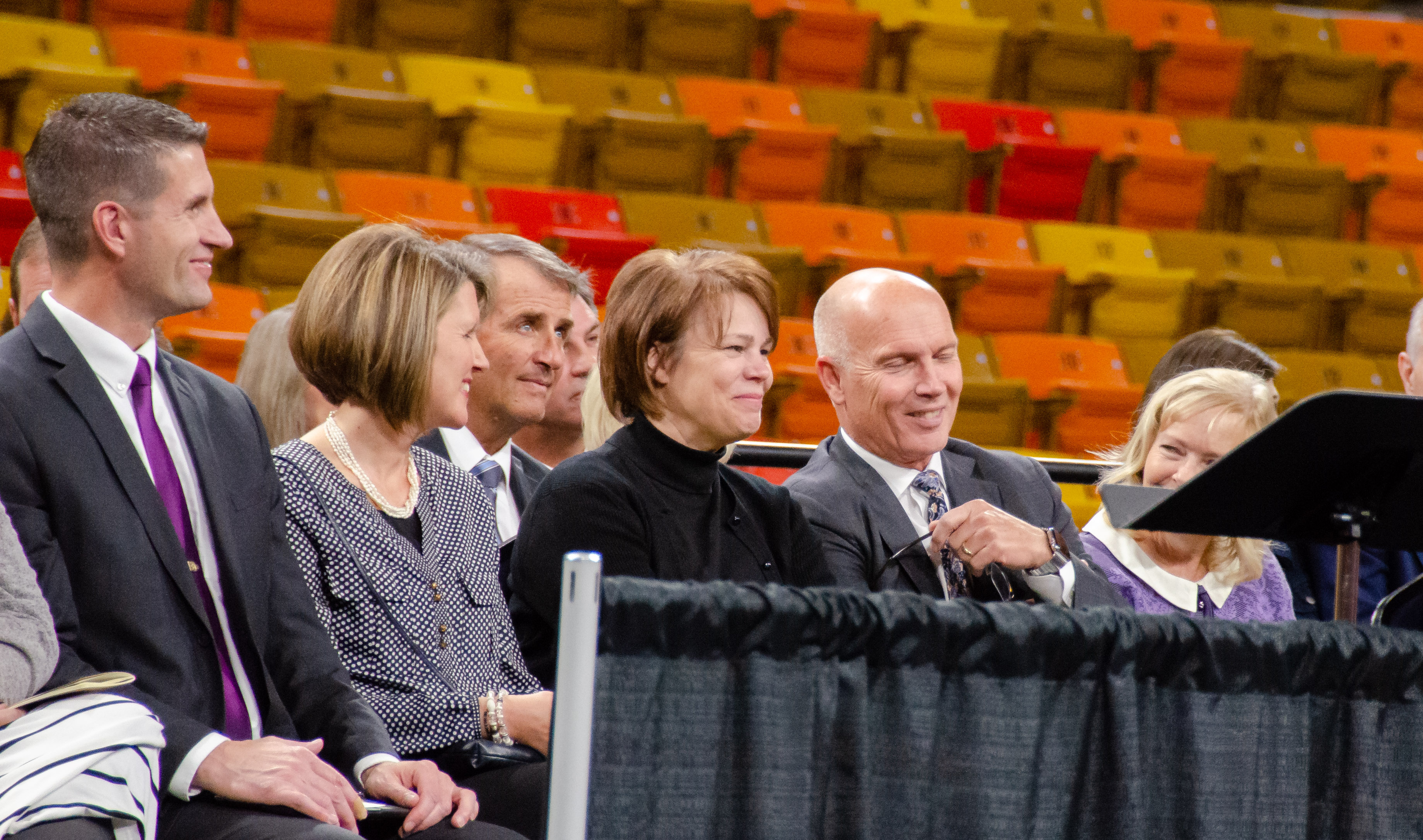 Sister Sharon Eubank, center, looks out at the crowd of students and young adults gathered in the Dee Glen Smith Spectrum at Utah State University for an institute-sponsored devotional in Logan, Utah, on Sunday, Nov. 3, 2019.
