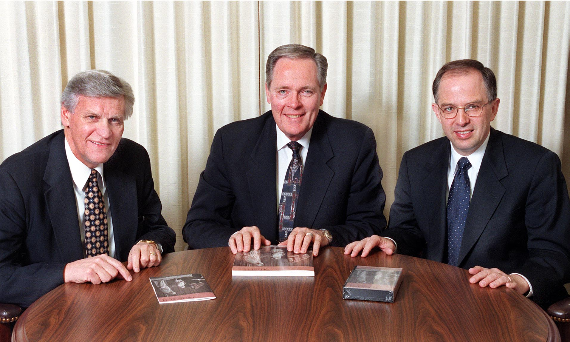 Sunday School general presidency. (l to r) Elder Glenn Pace, first counselor, Elder Harold G. Hillam, president, and Elder Neil L. Andersen, second counselor.