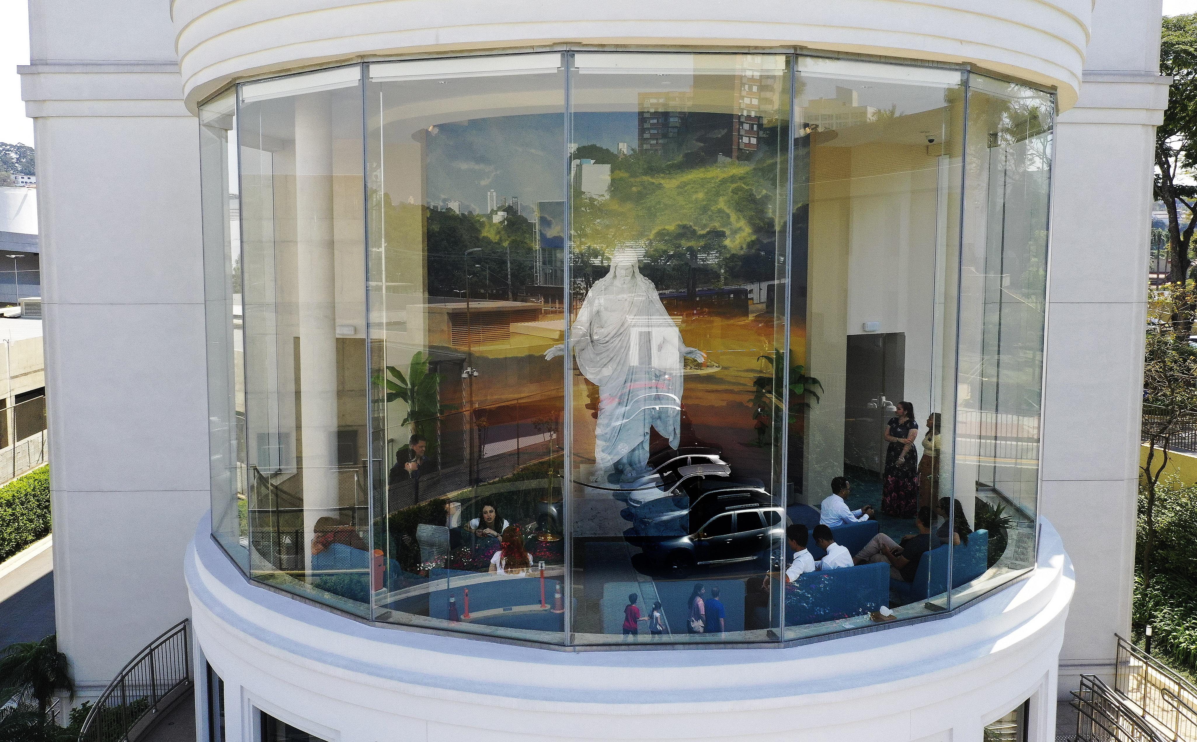 Visitors look through the Sao Paulo Brazil Temple Visitors' Center in Sao Paulo, Brazil, on Aug. 31, 2019.