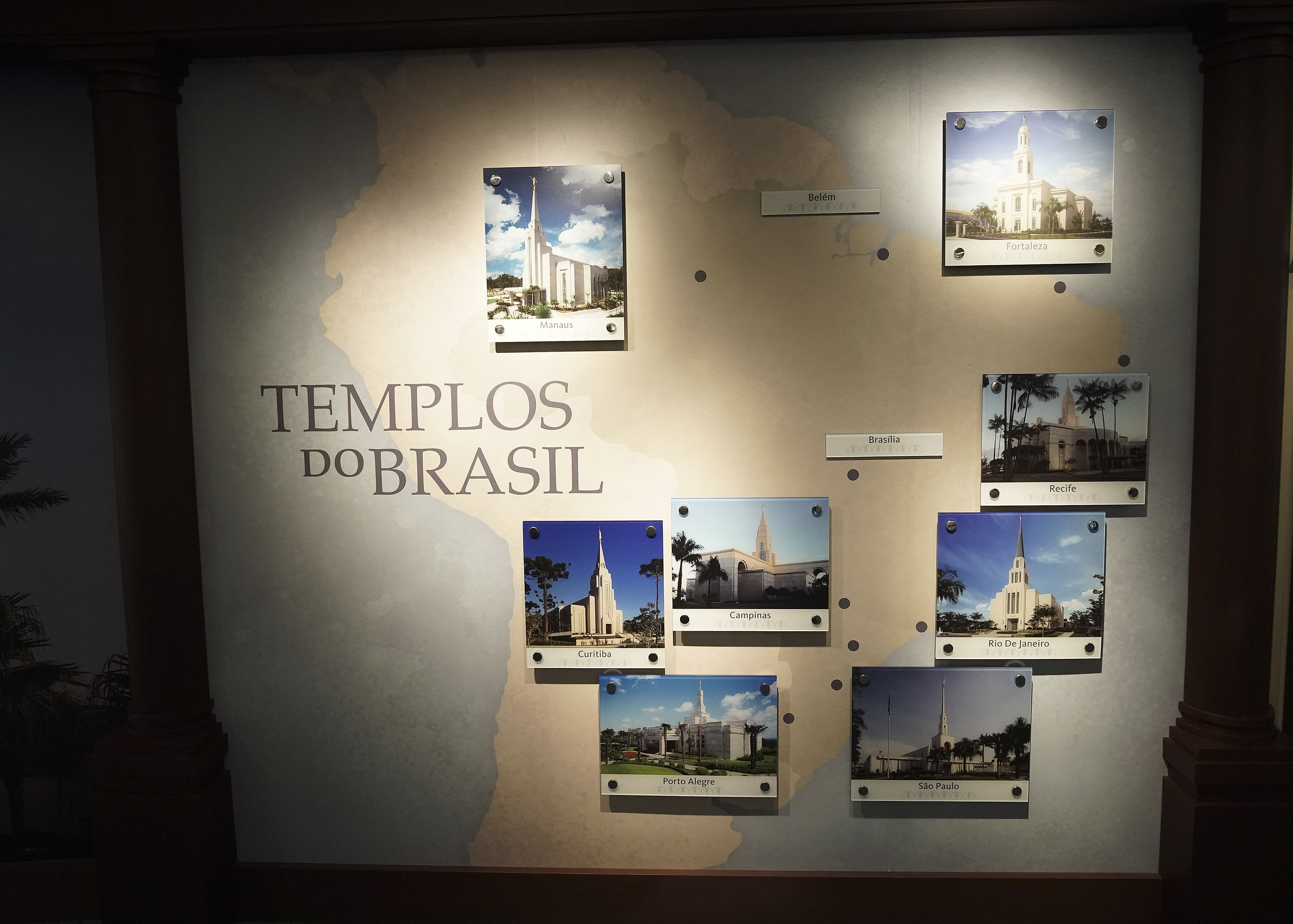 Displays are looked over in the Sao Paulo Brazil Temple Visitors' Center in Sao Paulo, Brazil, on Aug. 31, 2019.