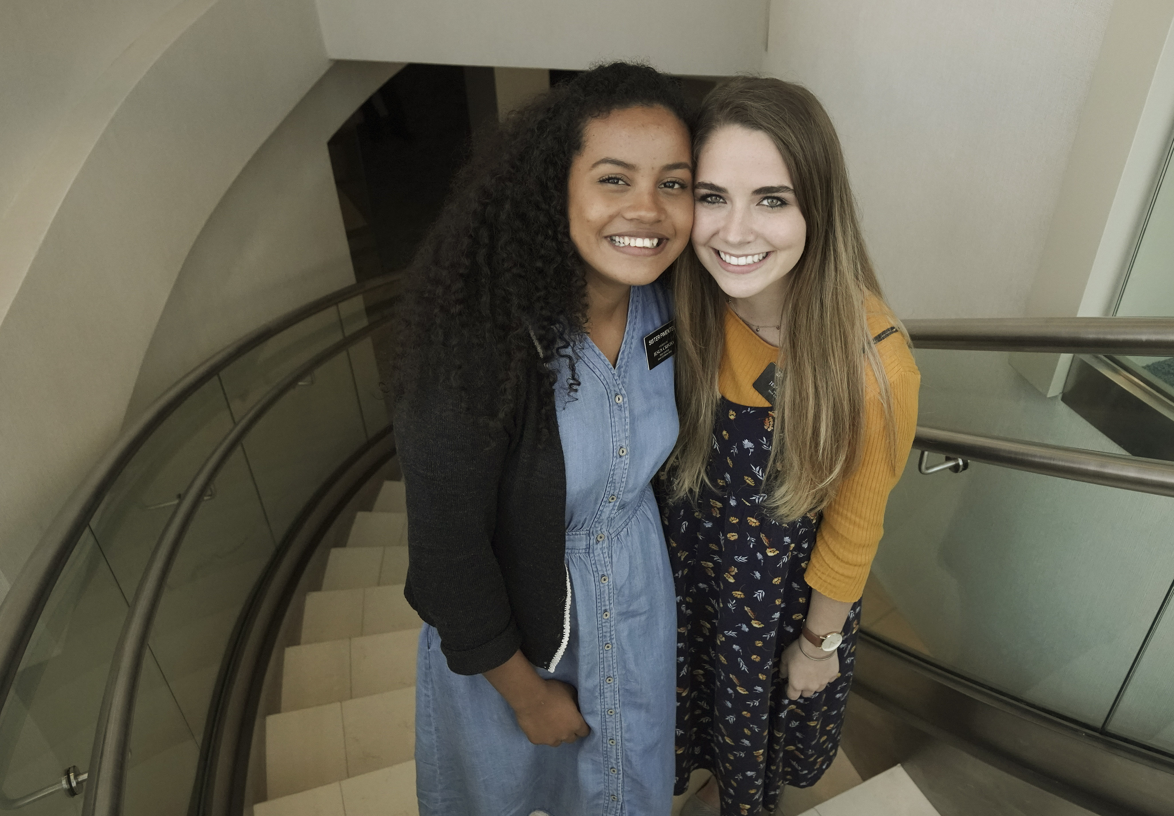 Sister Kethyllen Pimentel and Sister Whitney Hogge pose in the Sao Paulo Brazil Temple Visitors' Center in Sao Paulo, Brazil, on Aug. 31, 2019.