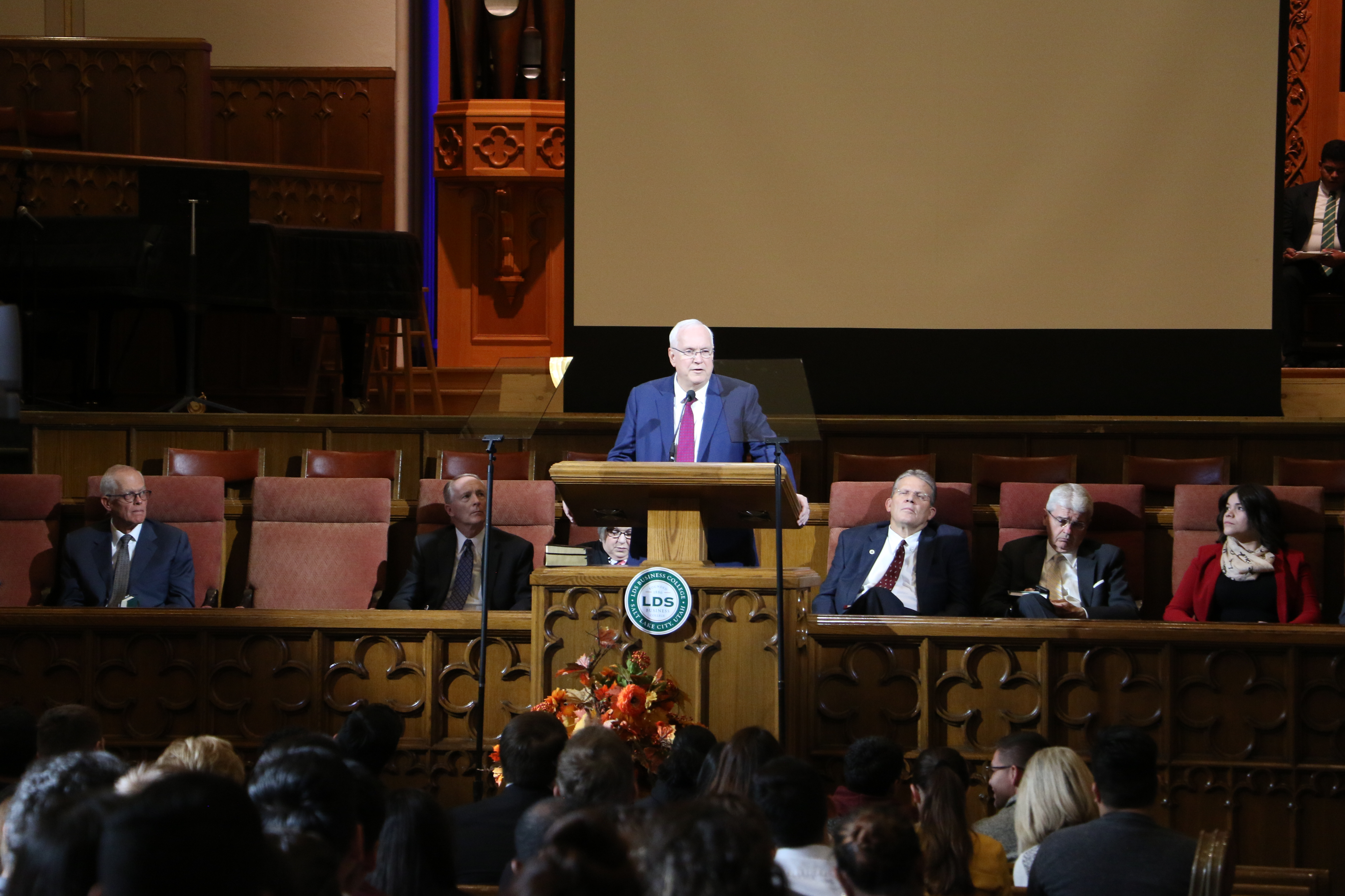 Elder Robert C. Gay of the Presidency of the Seventy speaks during an LDS Business College devotional in the Assembly Hall on Temple Square on Nov. 5, 2019.