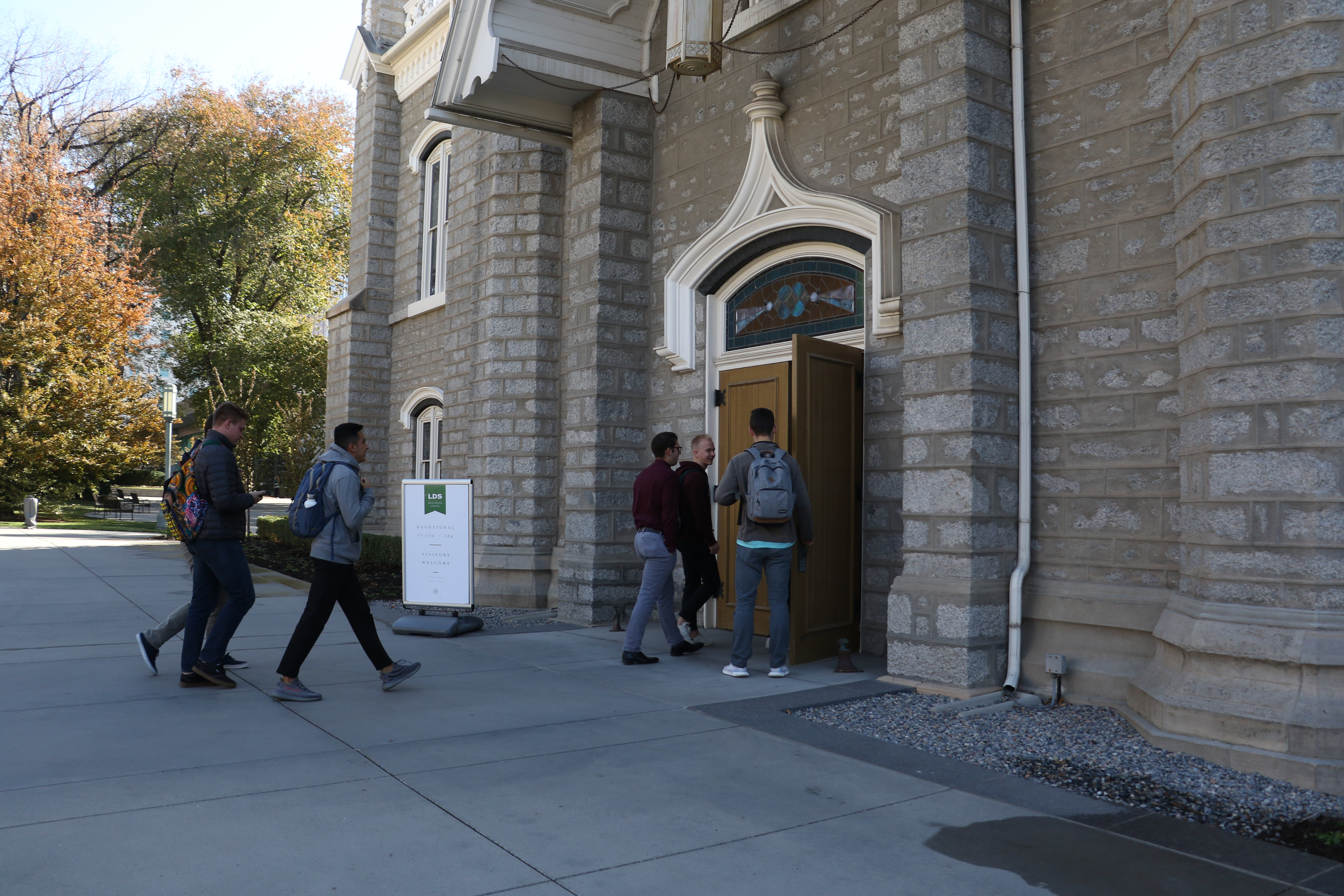 Students enter the Assembly Hall for an LDS Business College devotional on Nov. 5, 2019.