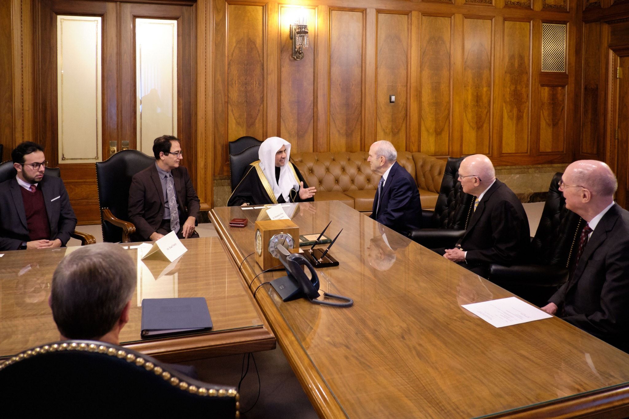 Members of the First Presidency of The Church of Jesus Christ of Latter-day Saints, right, meet His Excellency Dr. Mohammad Al-Issa, secretary-general of the Muslim World League, on Nov. 5, 2019.