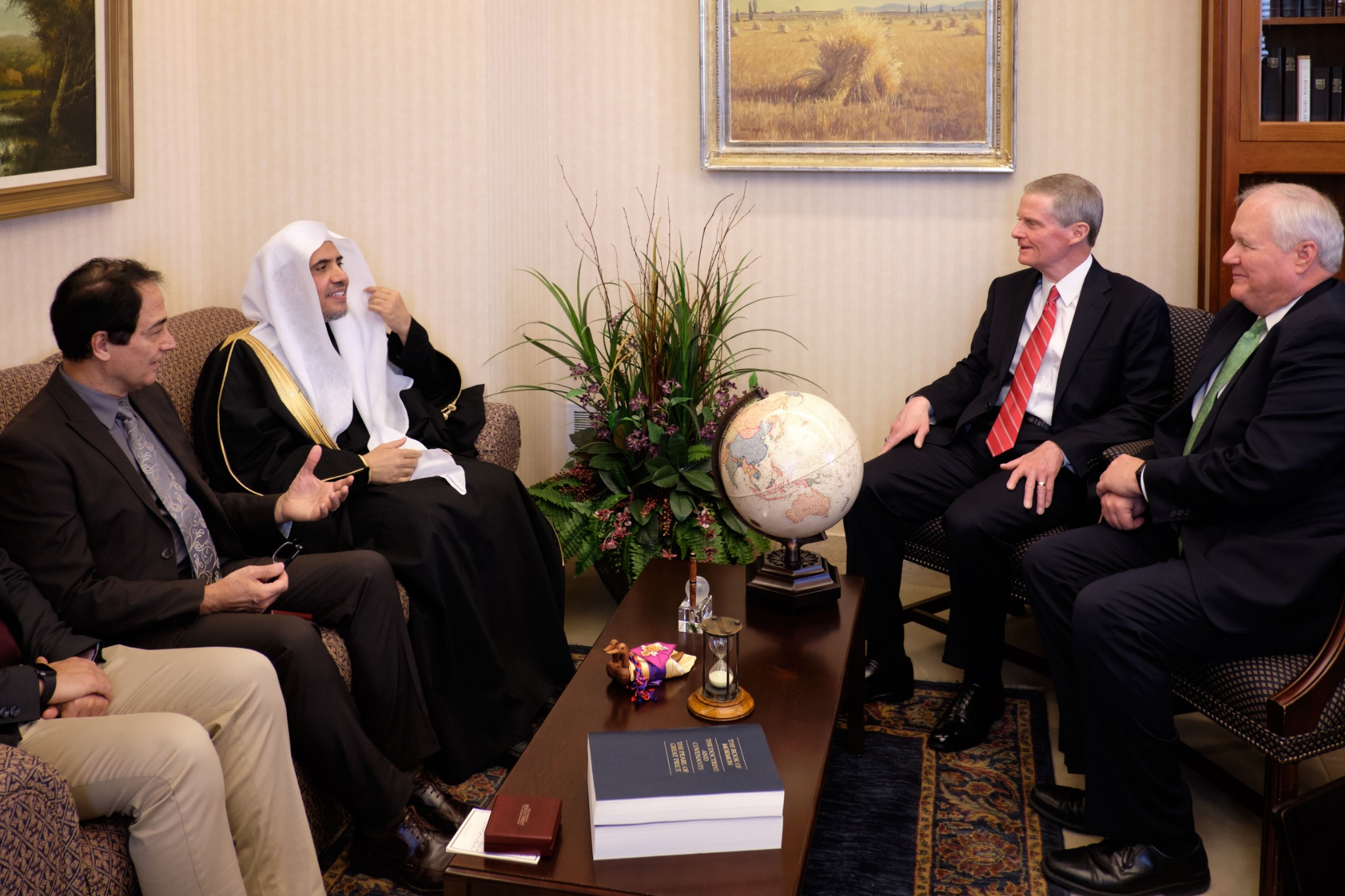 Elder David A. Bednar of the Quorum of the Twelve Apostles, second from right, and Elder Anthony D. Perkins, General Authority Seventy, far right, greet His Excellency Dr. Mohammad Al-Issa, secretary-general of the Muslim World League, on Nov. 5, 2019.