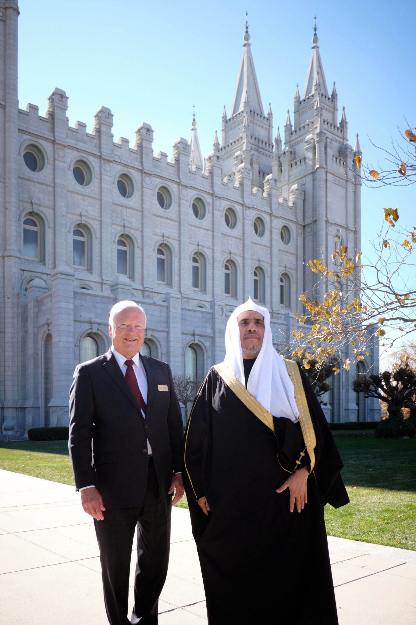 His Excellency Dr. Mohammad Al-Issa, secretary-general of the Muslim World League, tours Temple Square in Salt Lake City on Nov. 5, 2019, with Elder Kent F. Richards, director of Church Hosting and emeritus General Authority Seventy.