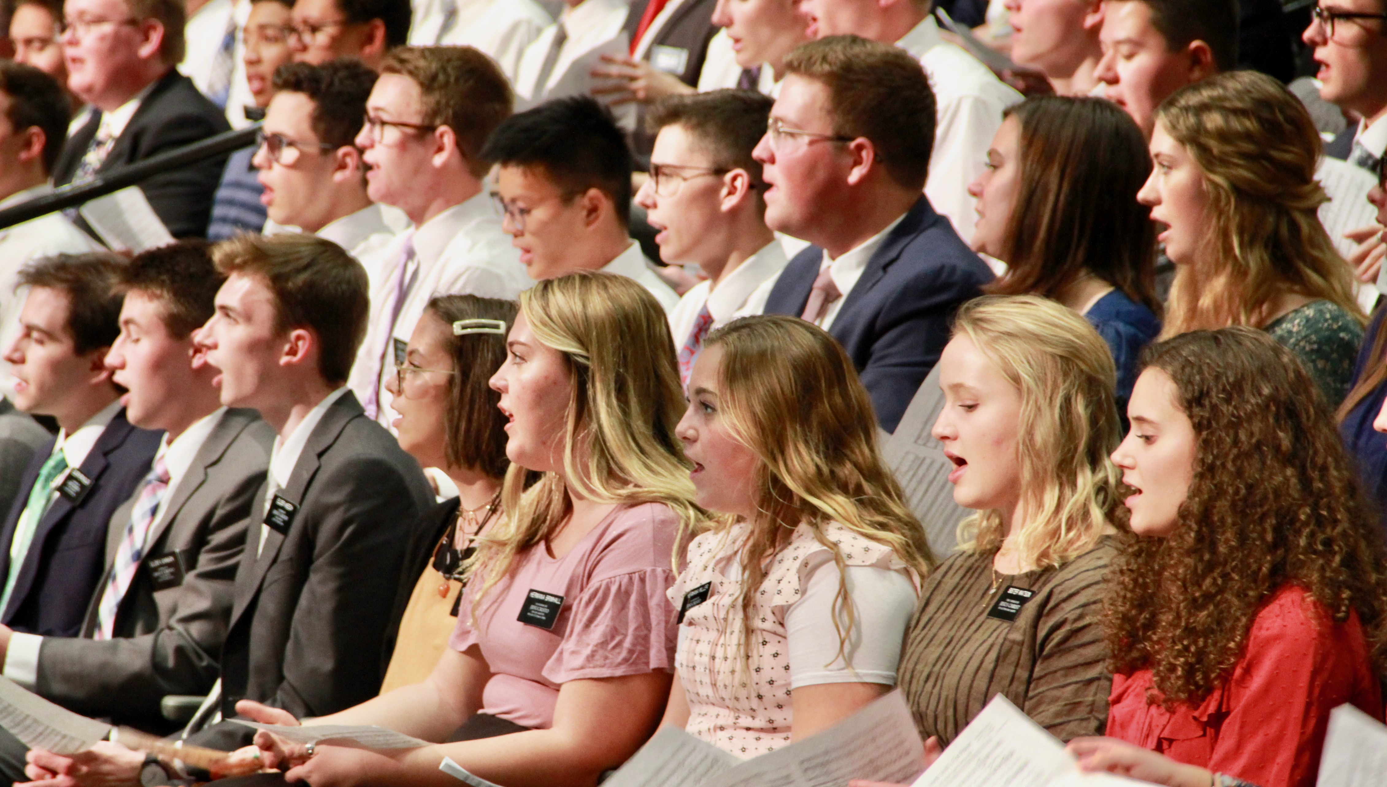 Members of the Provo Missionary Training Center choir sing during a Nov. 5, 2019, devotional with Elder Dieter F. Uchtdorf at the MTC.