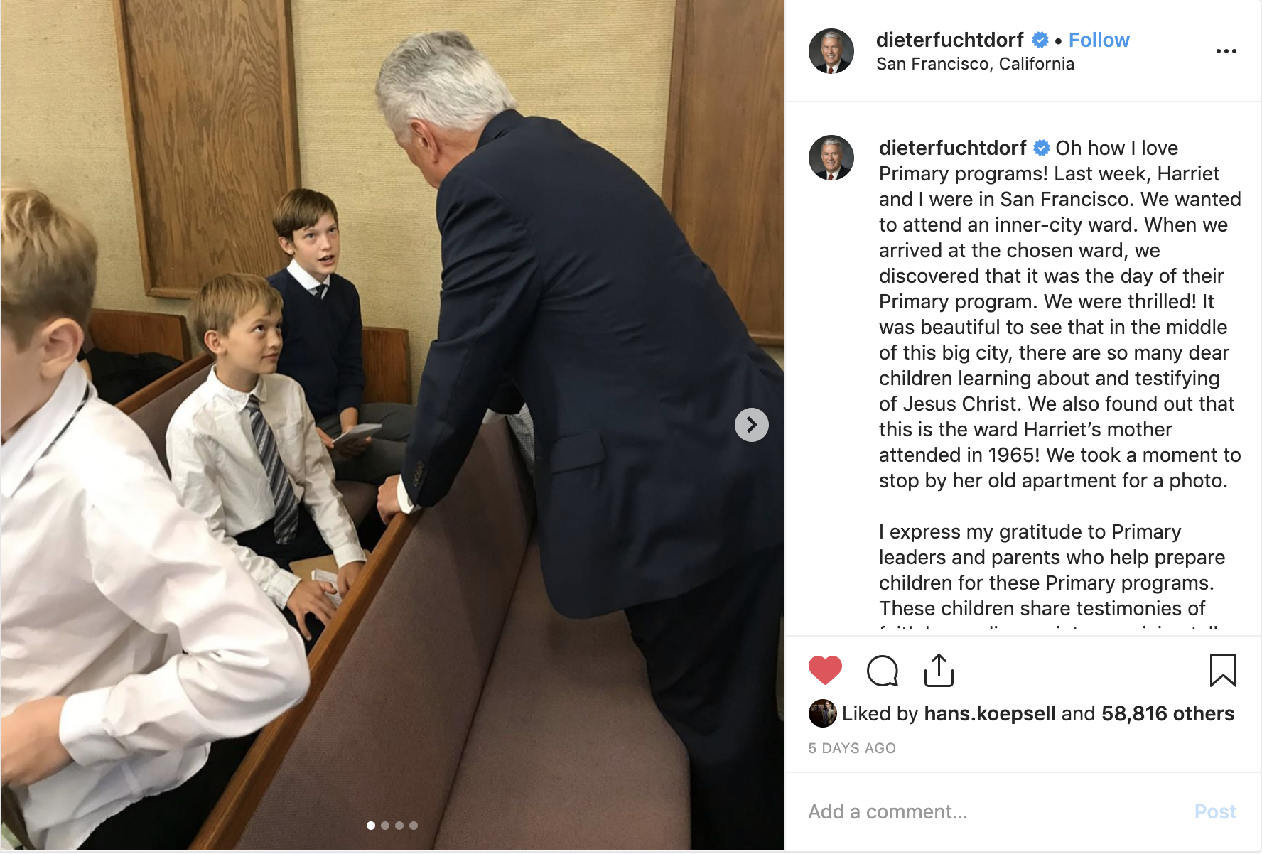 Elder Dieter F. Uchtdorf and his wife, Sister Harriet Uchtdorf, recently visited a ward in San Francisco and were thrilled to discover the Primary program would be held that day. Instagram screenshot taken Nov. 8, 2019.