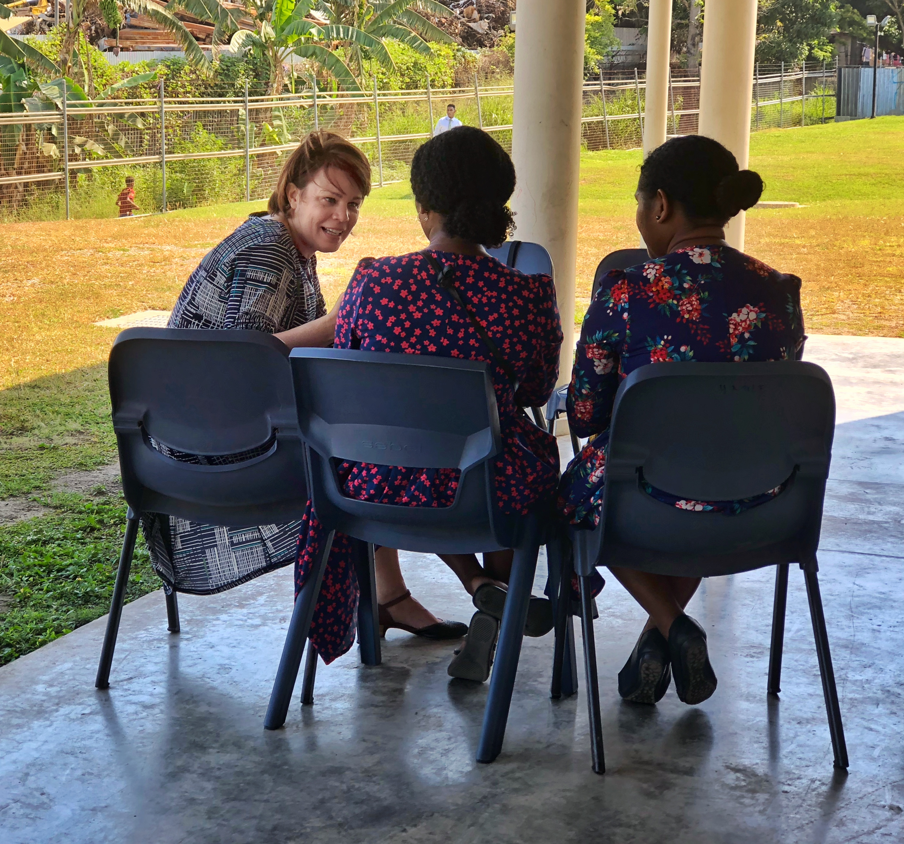 Sister Sharon Eubank meets with members from the Port Moresby Papua New Guinea Stake and the Gerehu and Rigo districts in Papua New Guinea during a visit to the Pacific Area in October 2019.