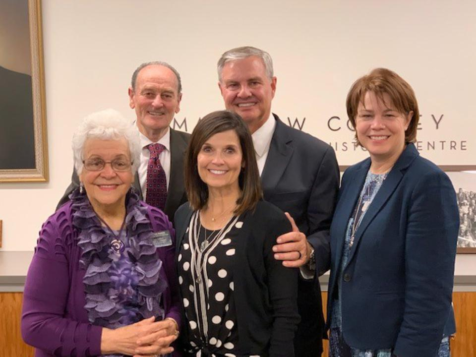 Sisters Sharon Eubank, right, with Sister Becky Craven and her husband, Brother Ron Craven, center, pose for a photo with with Sister Rangi Parker and Elder Vic Parker during a visit to the Matthew Cowley Pacific Church History Centre in Hamilton, New Zealand, during a ministering tour of the Pacific Area in October 2019.