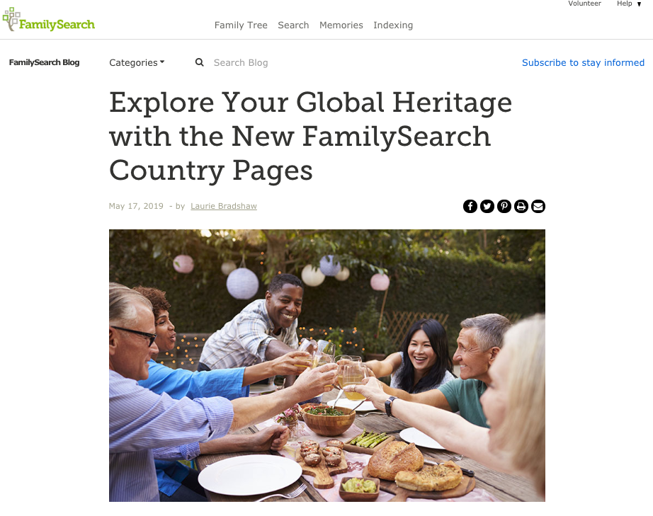 FamilySearch is creating country hub pages with resources specific to a country, including historical background, record collections and tips for understanding research.