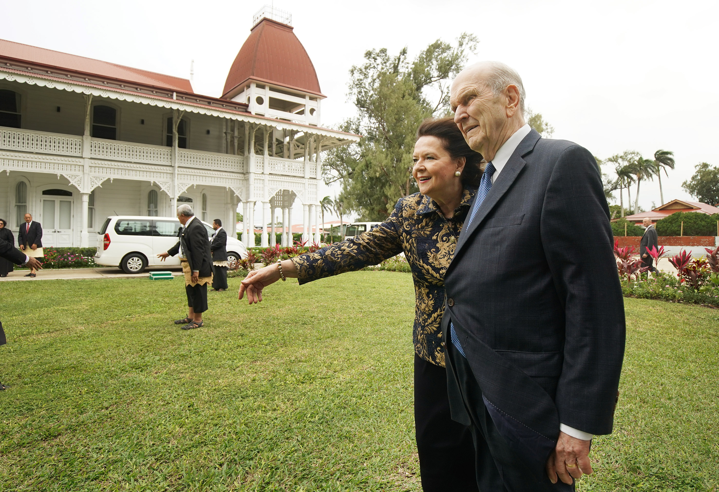 President Russell M. Nelson of The Church of Jesus Christ of Latter-day Saints and his wife, Sister Wendy Nelson, walks the grounds after meeting with 'Aho'eitu Tupou VI, King of Tonga, at the Royal Palace in Tonga on May 23, 2019.