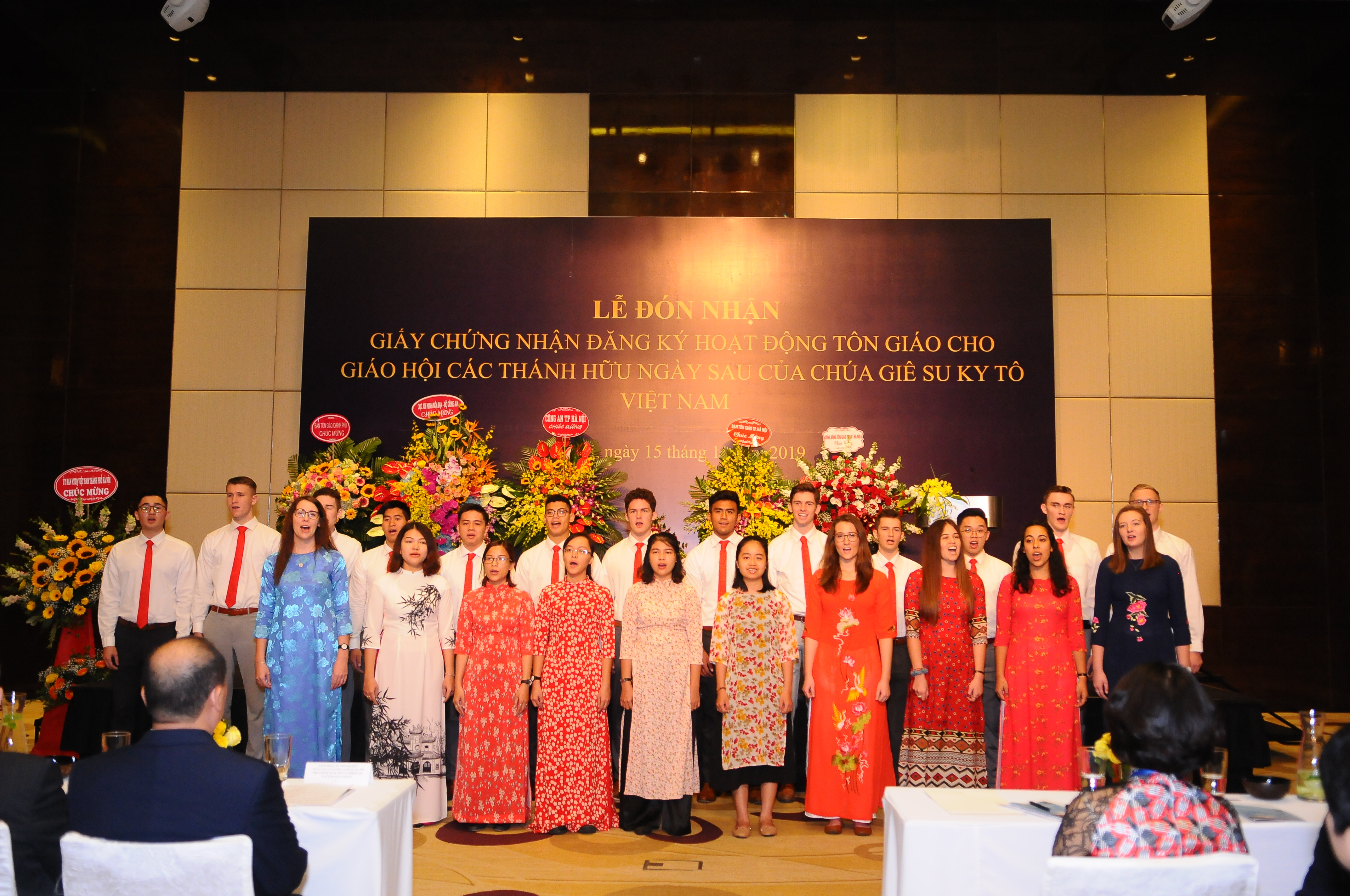 """A special choir of Church members sing """"I Am a Child of God"""" at the ceremony recognition ceremony in Hanoi, Vietnam, on Nov. 14, 2019."""