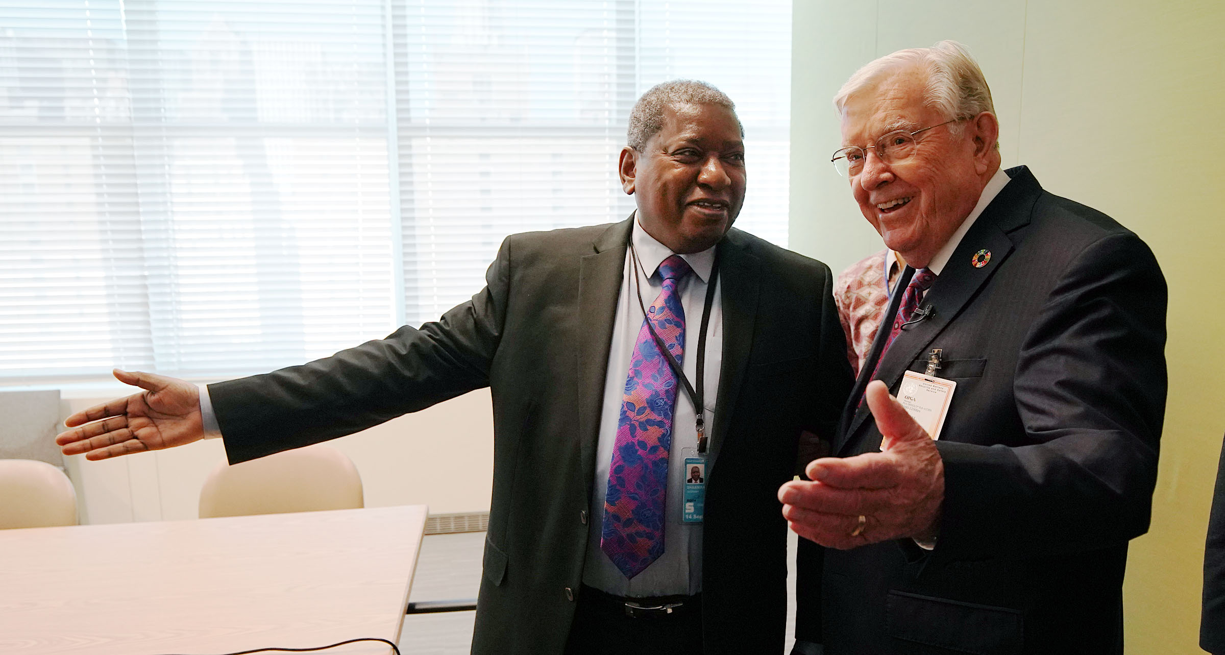 President M. Russell Ballard, right, acting president of the Quorum of the Twelve Apostles of The Church of Jesus Christ of Latter-day Saints, greets Dr. Jerobeam Shaanika, deputy chef de cabinet, office of the President of the General Assembly of the United Nations 74th Session in New York City on Friday, Nov. 15, 2019.