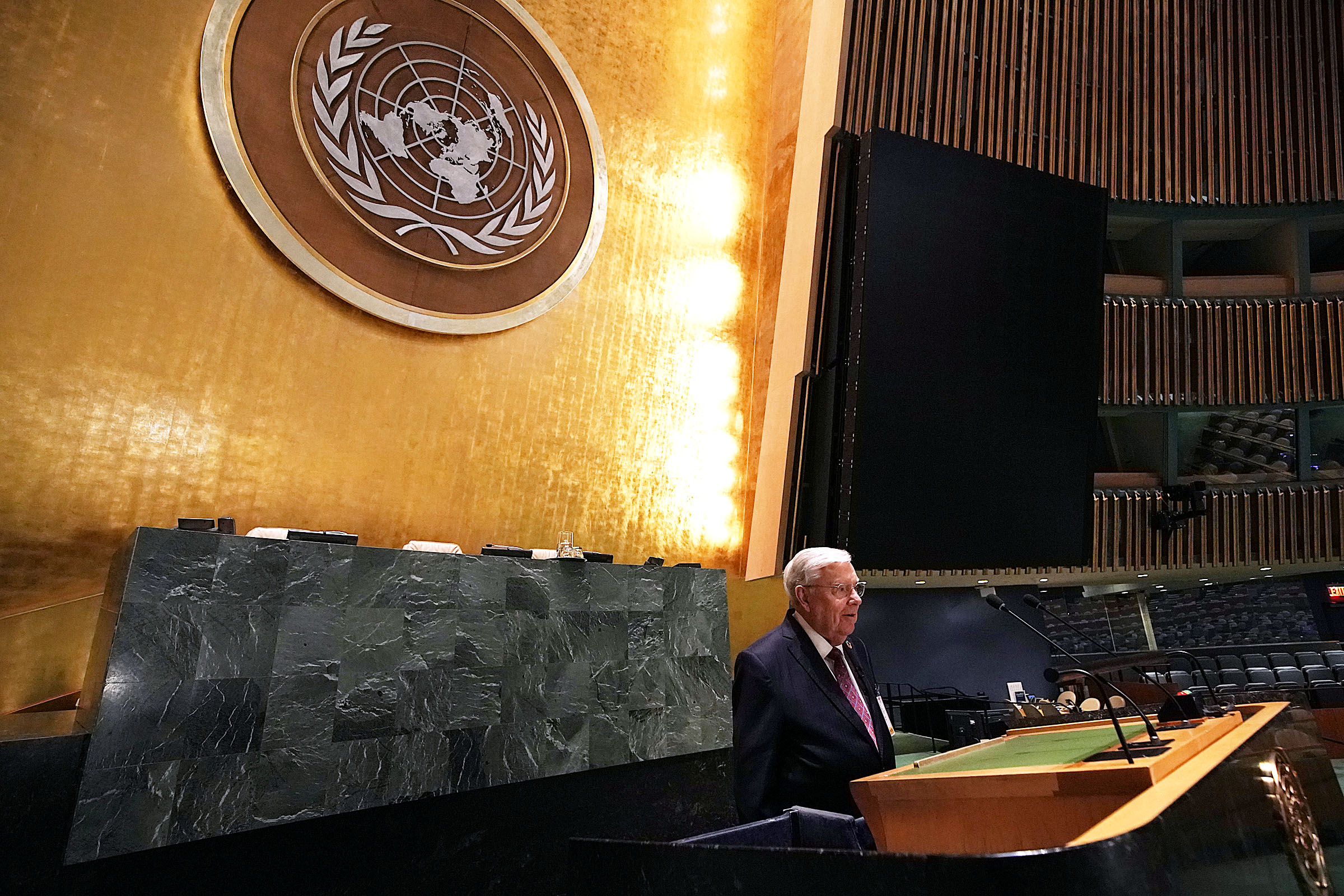 President M. Russell Ballard, acting president of the Quorum of the Twelve Apostles of The Church of Jesus Christ of Latter-day Saints, visits the podium of the General Assembly Hall of the United Nations in New York City on Friday, Nov. 15, 2019.