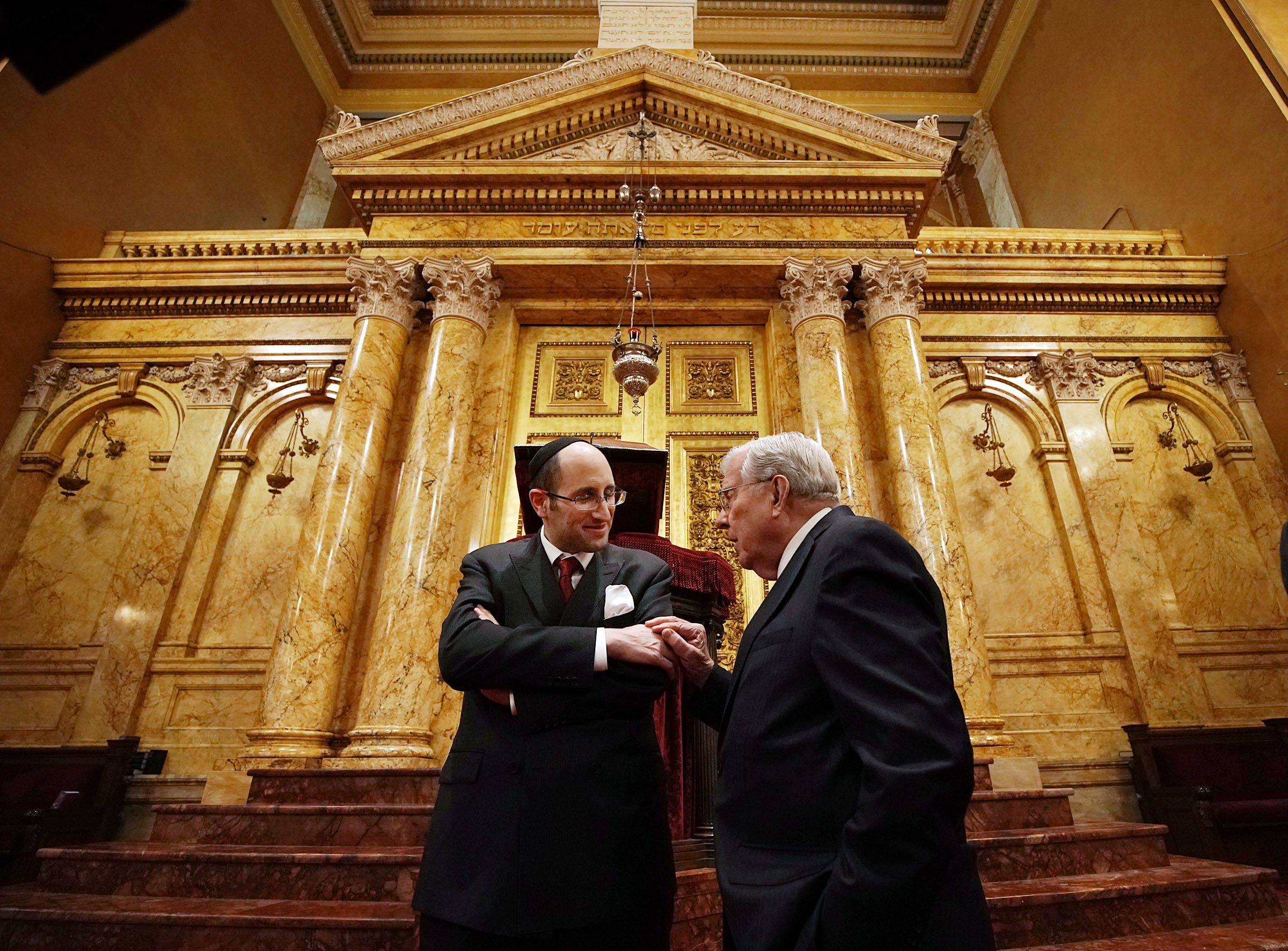 President M. Russell Ballard, right, acting president of the Quorum of the Twelve Apostles of The Church of Jesus Christ of Latter-day Saints, talks with Rabbi Meir Y. Soloveichik as they tour the Spanish and Portuguese Synagogue of the Congregation Shearith Israel in New York City on Friday, Nov. 15, 2019.