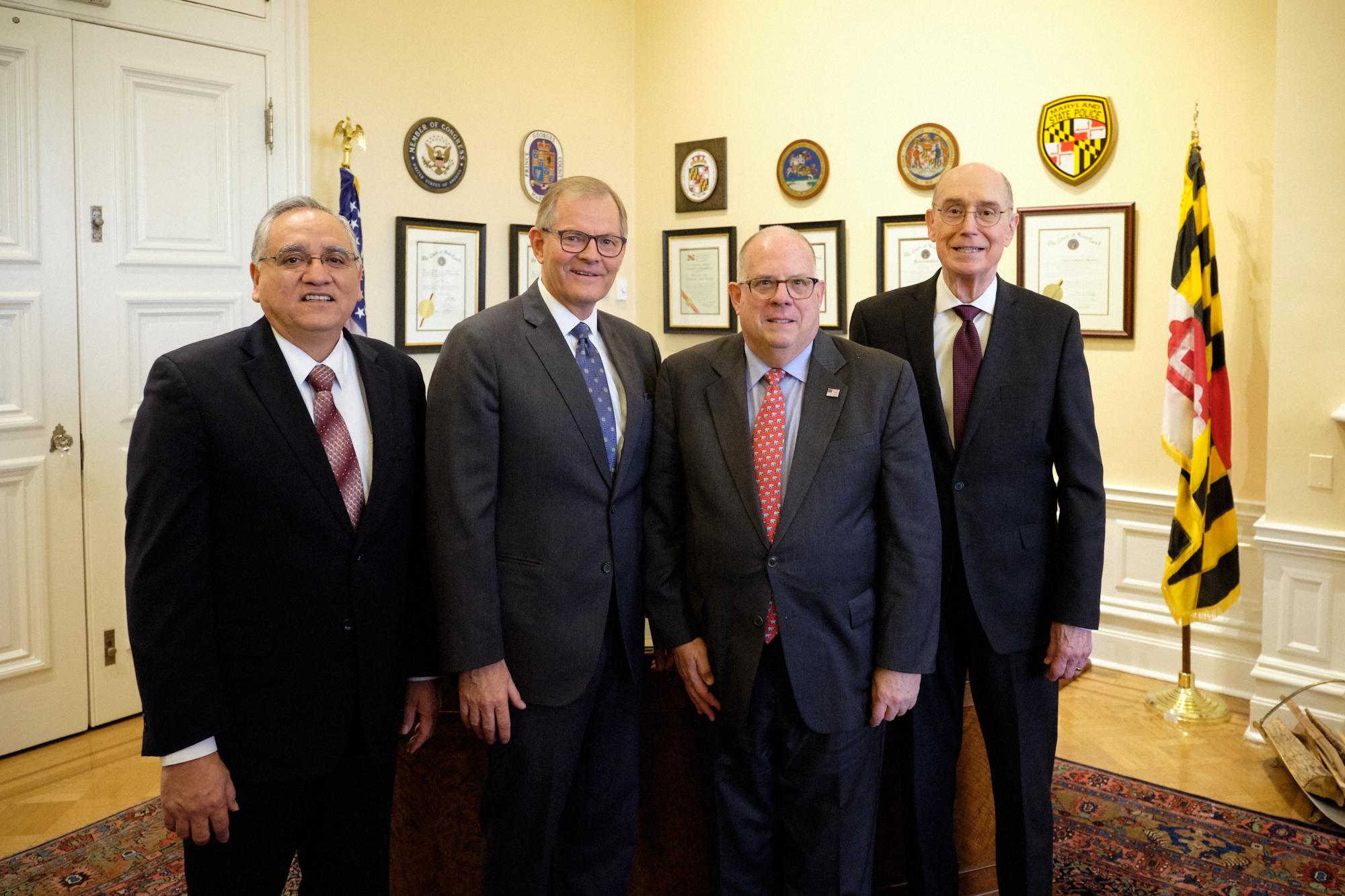 From left, Elder Hugo Montoya, Elder Gary E. Stevenson, Maryland Governor Larry Hogan and President Henry B. Eyring at the Maryland State House on Nov. 15, 2019.