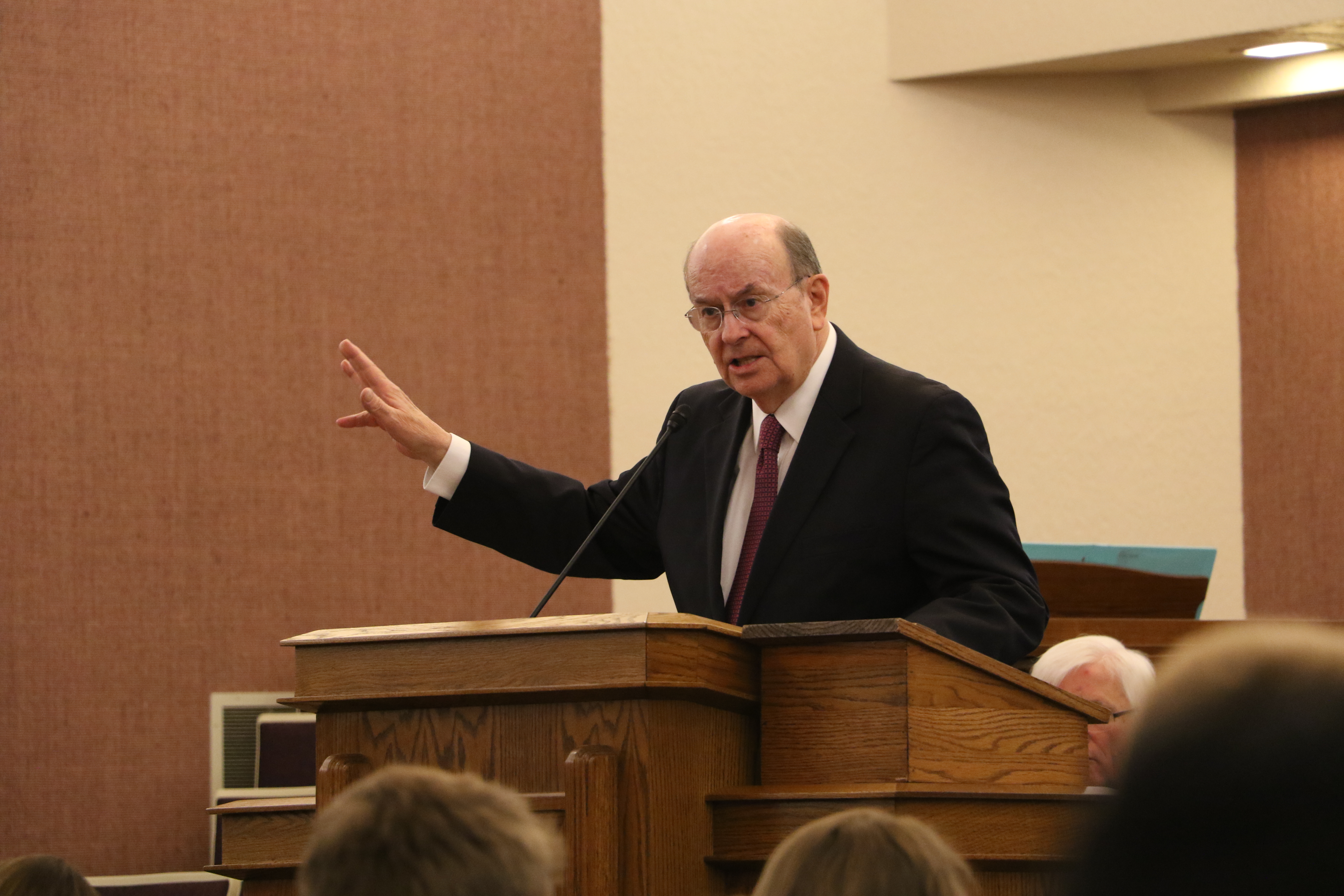 Elder Quentin L. Cook of the Quorum of the Twelve Apostles addresses missionaries in the Louisiana Baton Rouge Mission during a devotional on Saturday, Nov. 16, 2019, in Baton Rouge, Louisiana.