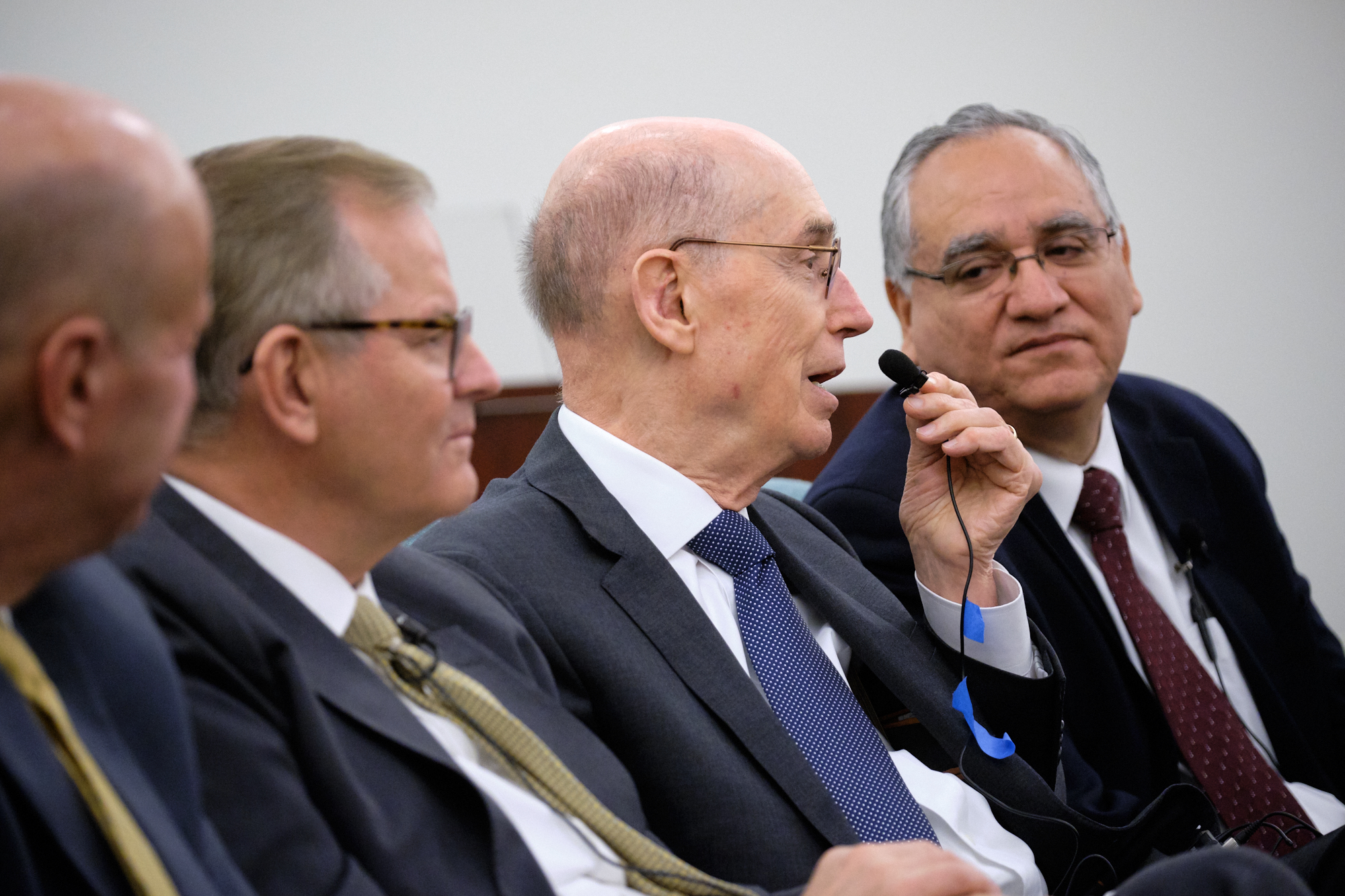 President Henry B. Eyring, second from right, responds to a question during the Nov. 16, 2019, North Carolina Charlotte Leadership Conference. He was joined on the panel by, from left, Elder Matthew Harding, Elder Gary E. Stevenson and Elder Hugo Montoya.
