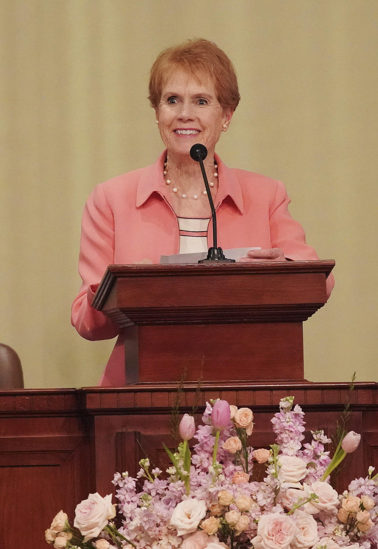 Sister Kathy Christofferson speaks in Hanoi, Vietnam, on Sunday, Nov. 17, 2019.