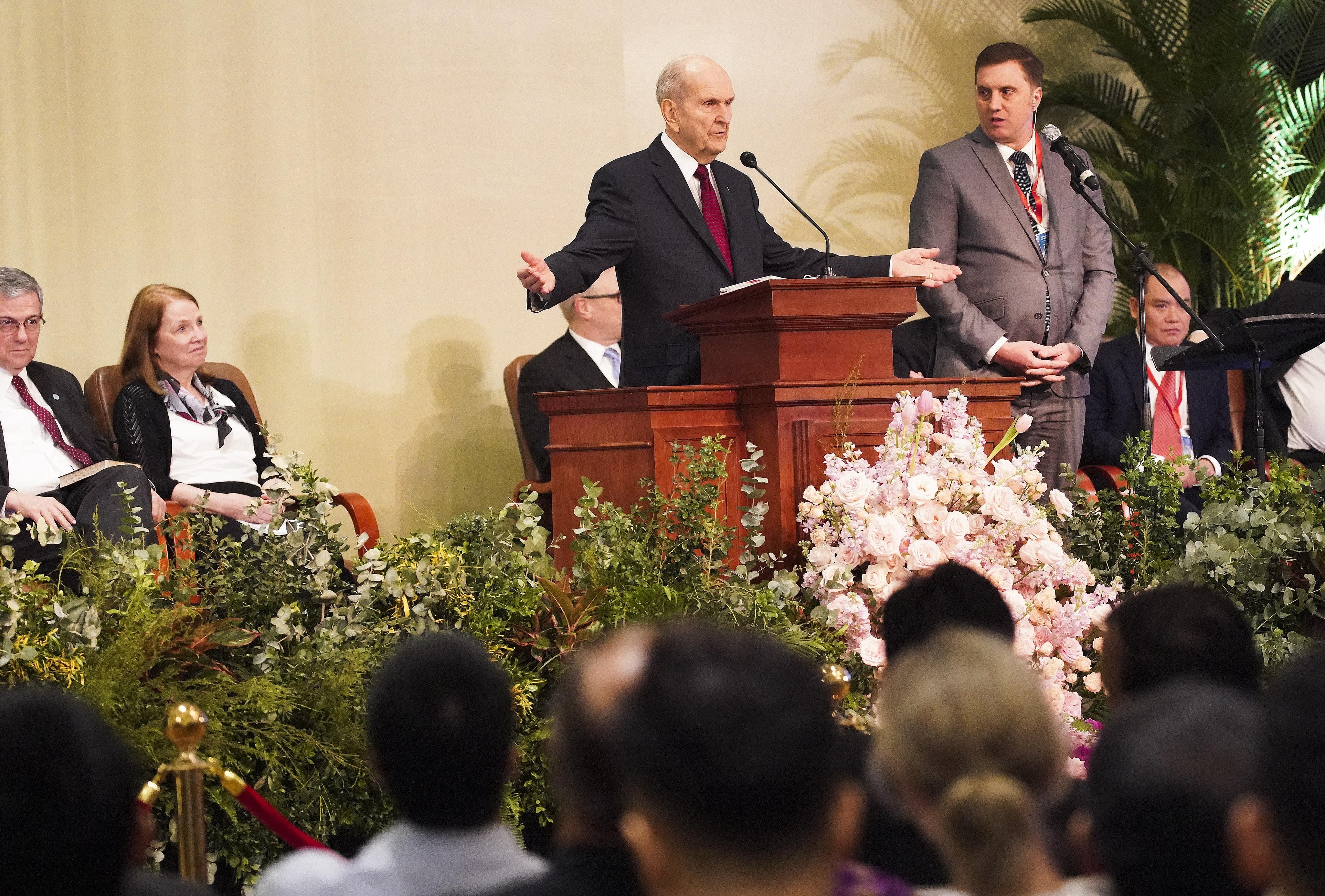 President Russell M. Nelson of The Church of Jesus Christ of Latter-day Saints speaks during a devotional in Hanoi, Vietnam, on Sunday, Nov. 17, 2019.