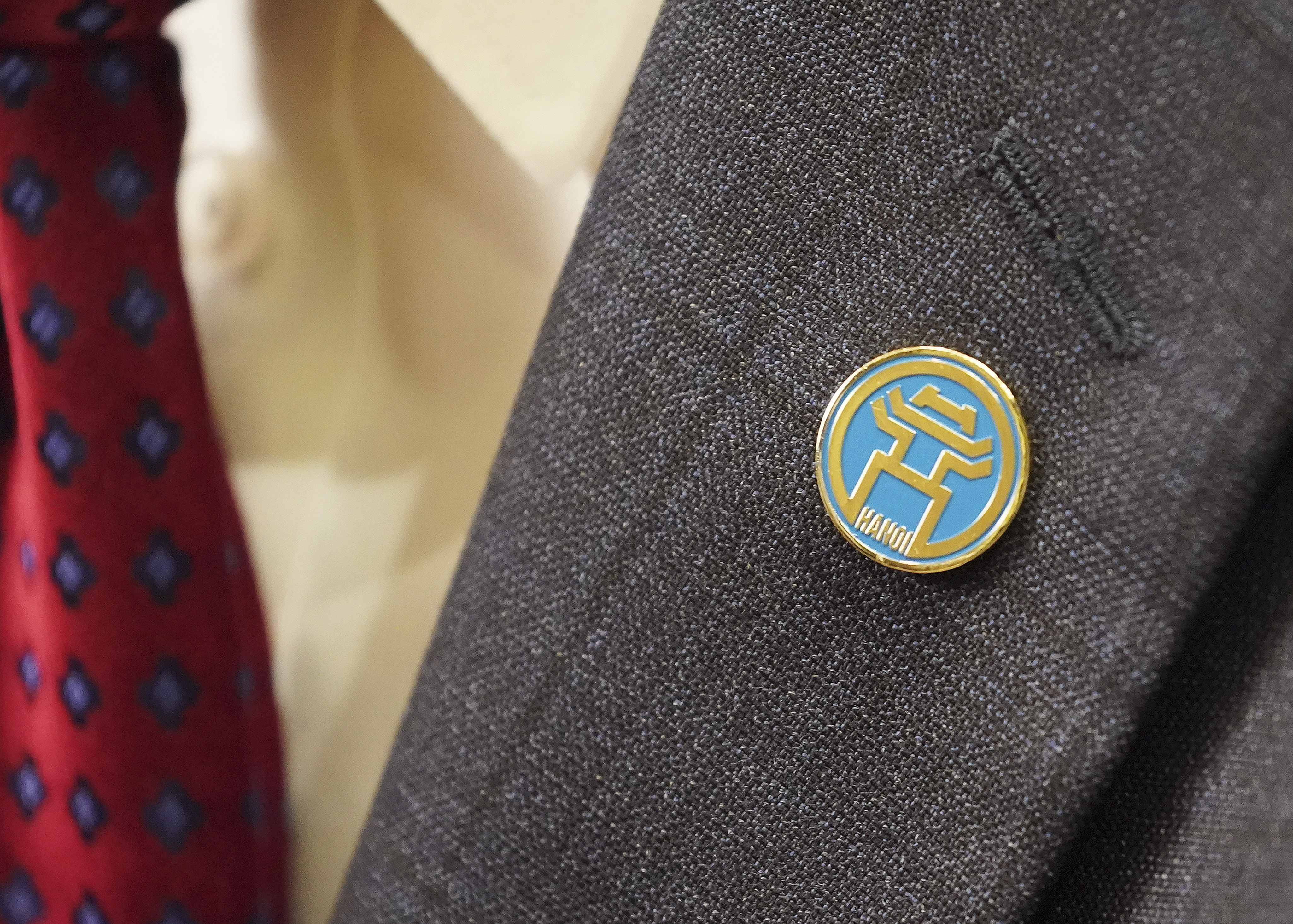 President Russell M. Nelson of The Church of Jesus Christ of Latter-day Saints, wears a pin given him by the mayor of Hanoi in Hanoi, Vietnam on Sunday, Nov. 17, 2019.