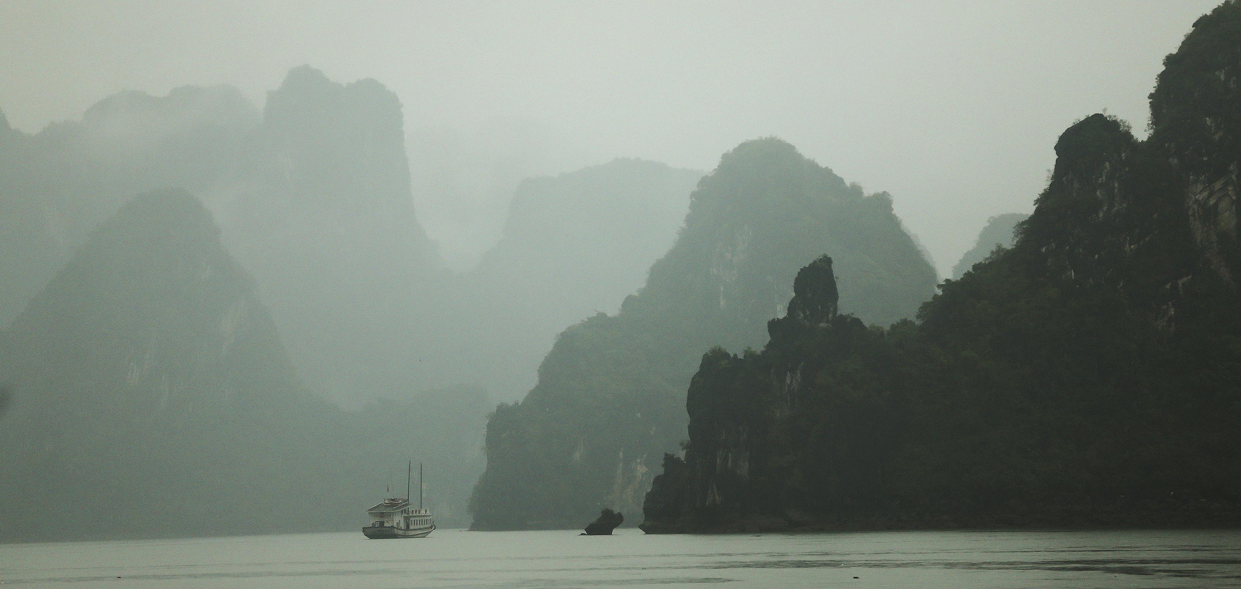 A tour boat travels in Ha Long Bay in Vietnam Apr 23, 2018.