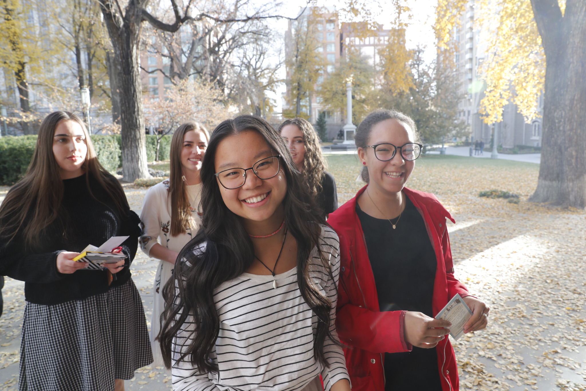 Latter-day Saint youth arrive at the Tabernacle on Temple Square in Salt Lake City, Utah, on Nov. 17, 2019, to participate in what was described as the largest Face to Face event ever hosted by the Church. The broadcast introduced a new Children and Youth initiative that will replace the Church's existing children and youth programs on January 1, 2020.