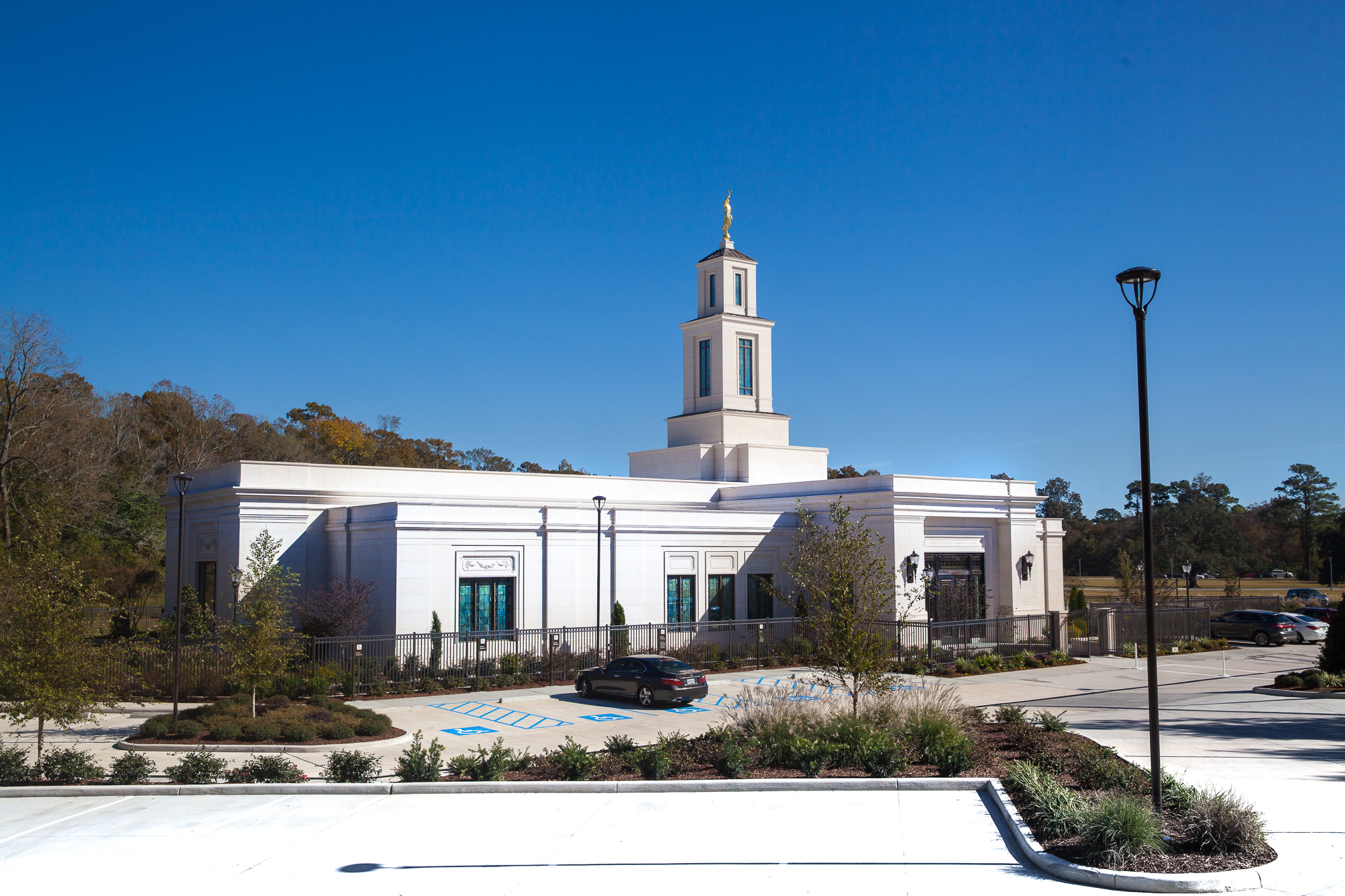 The Baton Rouge Louisiana Temple under blue skies on Saturday, Nov. 16, 2019, prior to its rededication by Elder Quentin L. Cook of the Quorum of the Twelve Apostles.