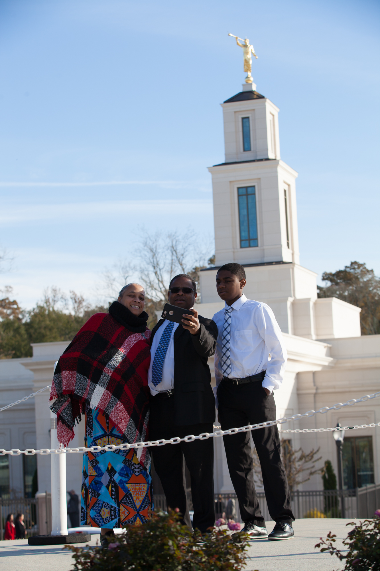Attendees of the Baton Rouge Louisiana Temple rededication pose for photos outside the temple following its rededication on Sunday, Nov. 17, 2019.