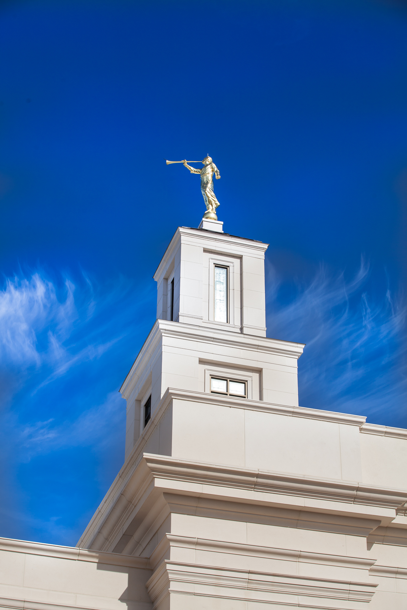 The Baton Rouge Louisiana Temple under bright blue skies on Saturday Nov. 16, 2019, prior to its rededication.