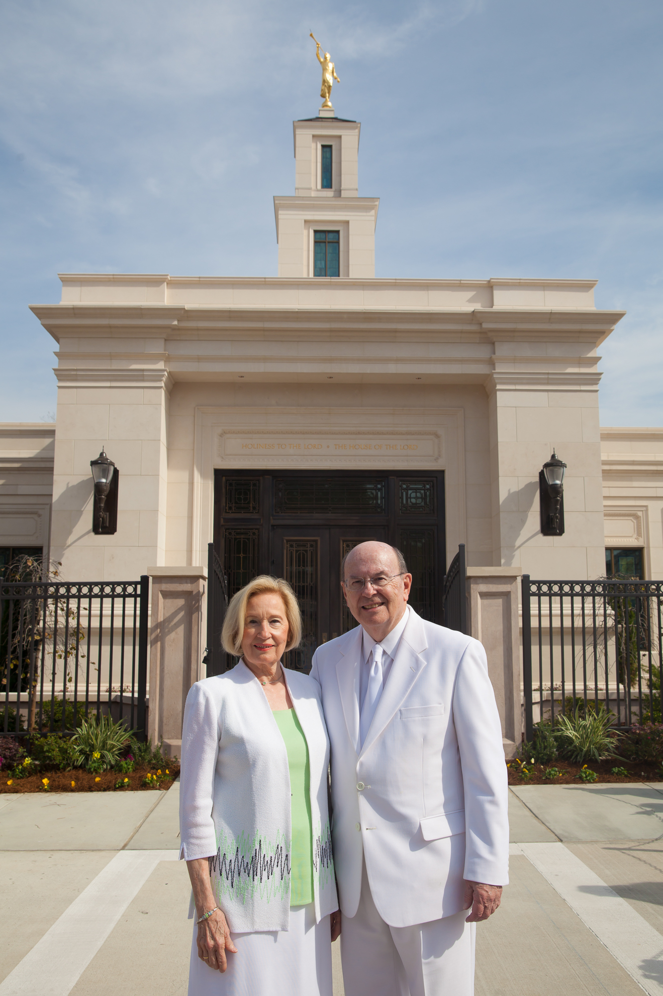 Elder Quentin L. Cook of the Quorum of the Twelve Apostles, with his wife, Sister Mary Cook, stand in front of the Baton Rouge Louisiana Temple after its rededication on Sunday, Nov. 17, 2019.