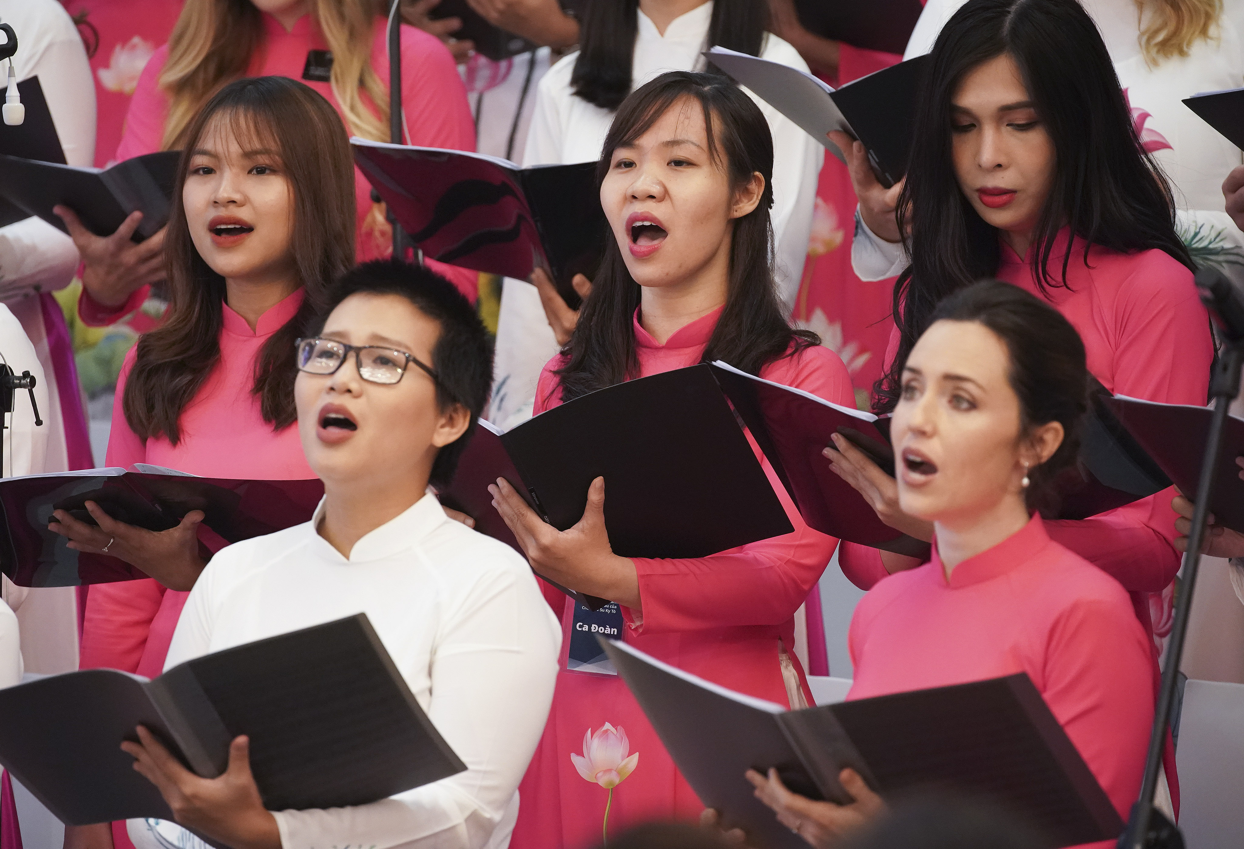 A choir sing during a devotional with President Russell M. Nelson and Elder D. Todd Christofferson of the Quorum of the Twelve Apostles in Ho Chi Minh City, Vietnam, on Nov. 18, 2019.