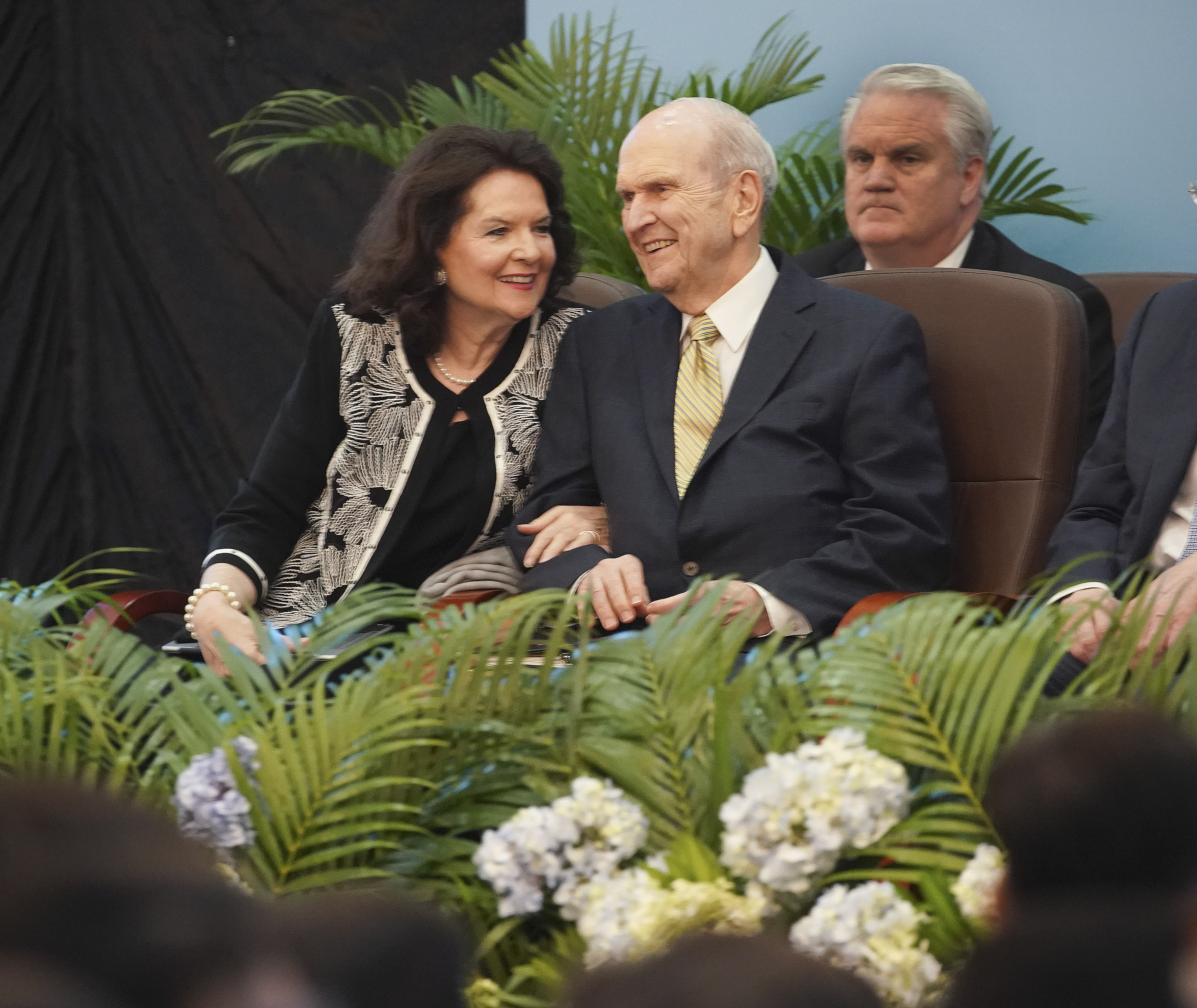 President Russell M. Nelson of The Church of Jesus Christ of Latter-day Saints and his wife, Sister Wendy Nelson, smile during a devotional in Ho Chi Minh City, Vietnam, on Nov. 18, 2019.