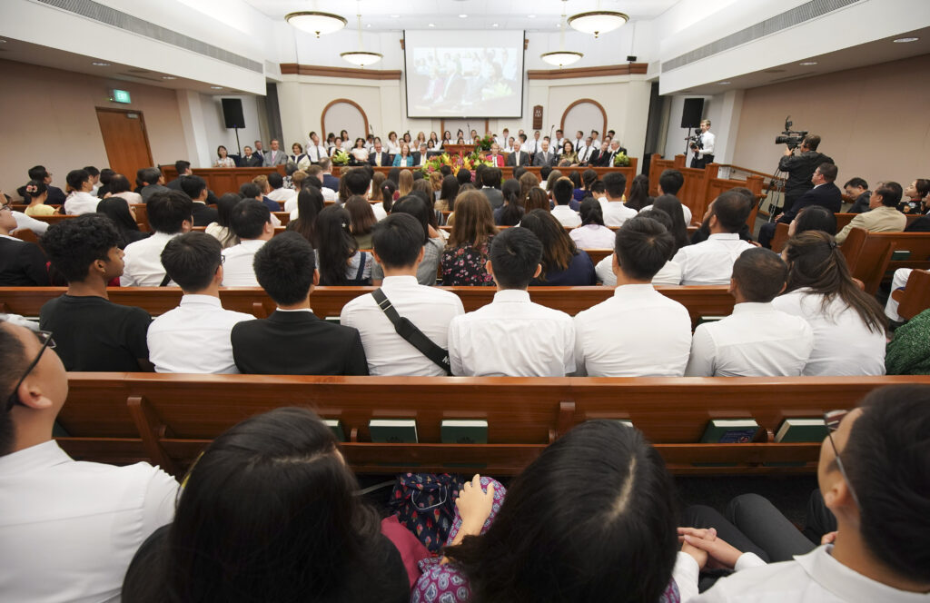Attendees listen during a devotional in Singapore on Nov. 20, 2019.