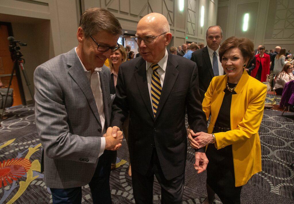 Sister Kristen Oaks, wife of President Dallin H. Oaks, attends the Utah Philanthropy Day luncheon in Salt Lake City, Tuesday, Nov. 19, 2019.