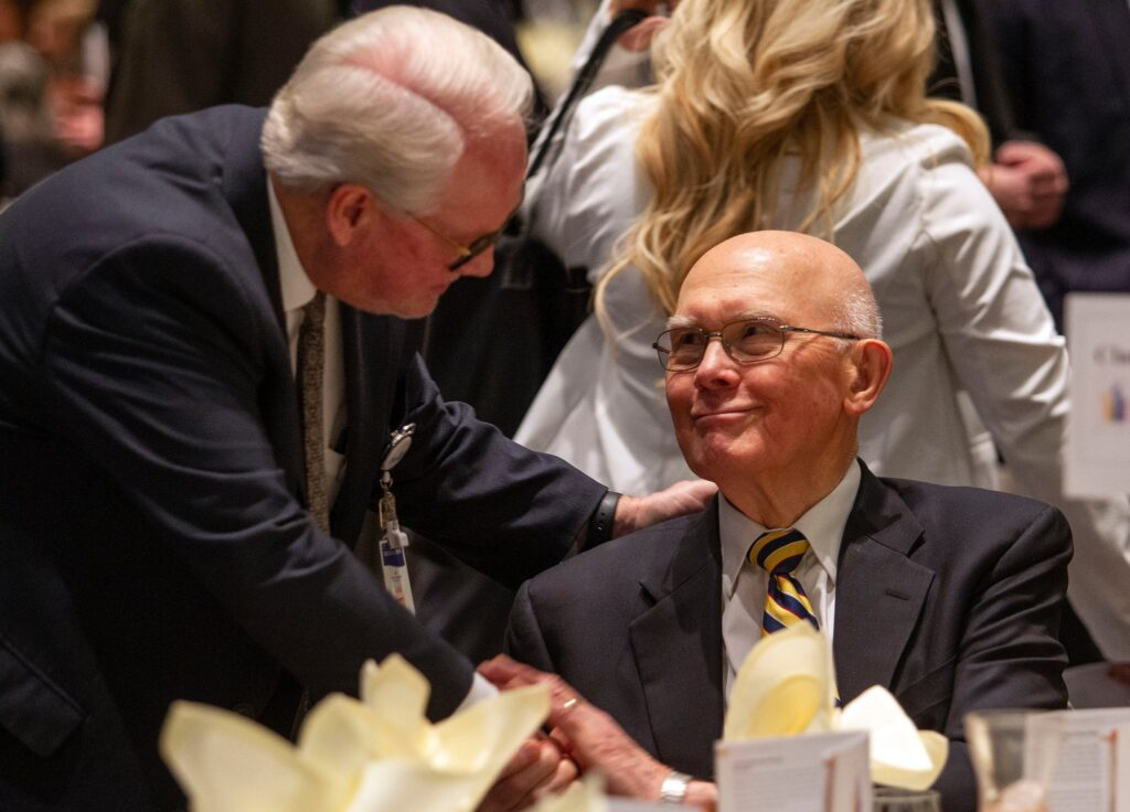 President Dallin H. Oaks of the Church's First Presidency greets people attending the Utah Philanthropy Day luncheon in Salt Lake City, on Tuesday, Nov. 19, 2019.