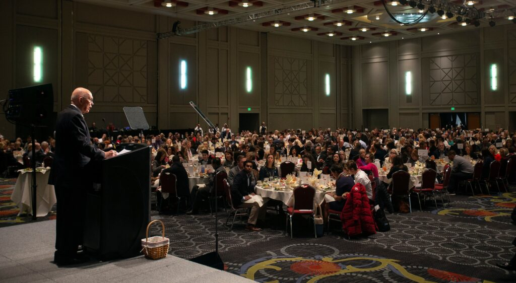 President Dallin H. Oaks, first counselor in the First Presidency of the Church, speaks at the Utah Philanthropy Day luncheon in Salt Lake City, Tuesday, Nov. 19, 2019.