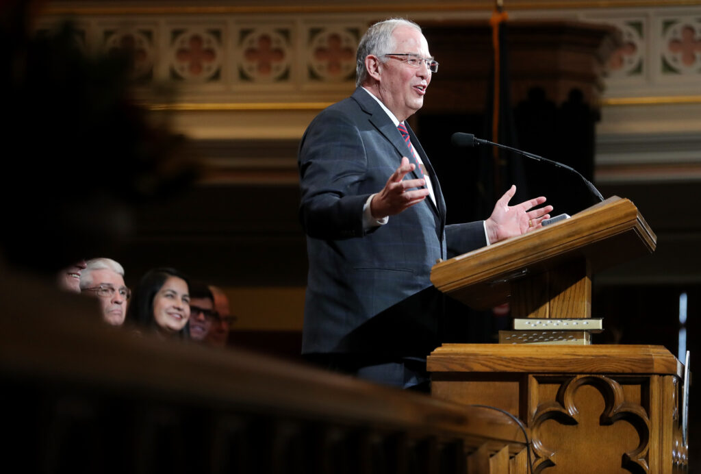 Elder Neil L. Andersen speaks at an LDS Business College devotional at the Assembly Hall on Temple Square on Tuesday, Nov. 19, 2019.