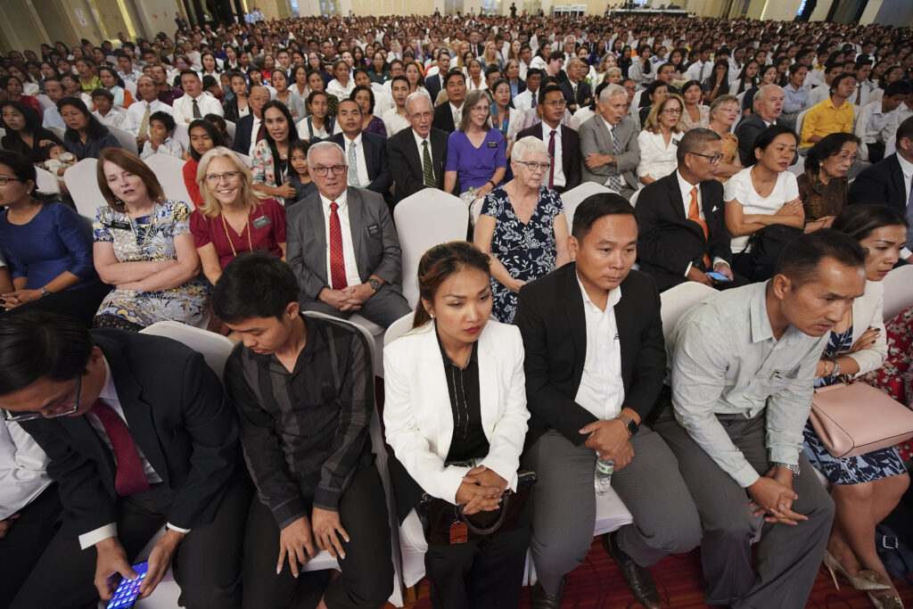 Attendees listen during a devotional for The Church of Jesus Christ of Latter-day Saints in Phnom Penh, Cambodia, on Nov. 19, 2019.