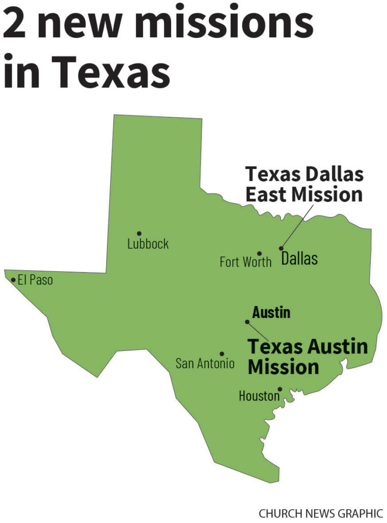 Two new missions in 2020 in Texas will be the Texas Austin and Texas Dallas East missions.