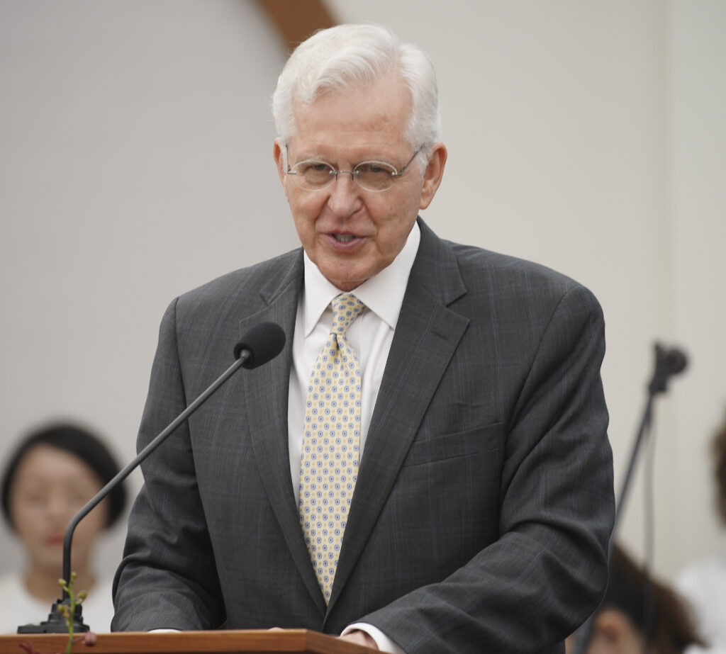 Elder D. Todd Christofferson, of The Church of Jesus Christ of Latter-day Saints' Quorum of the Twelve Apostles speaks during a devotional in Singapore on Nov. 20, 2019.