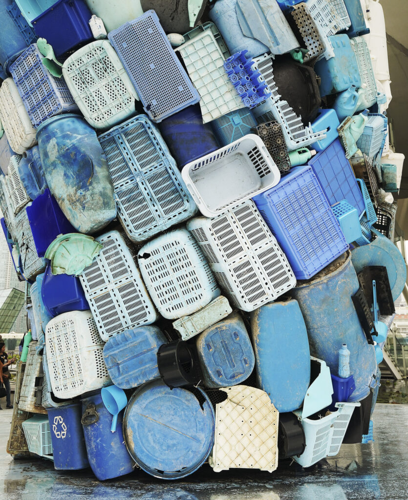 Skyscraper sculpture in Singapore on Nov. 20, 2019. Five tons of plastic waste was used to create it.